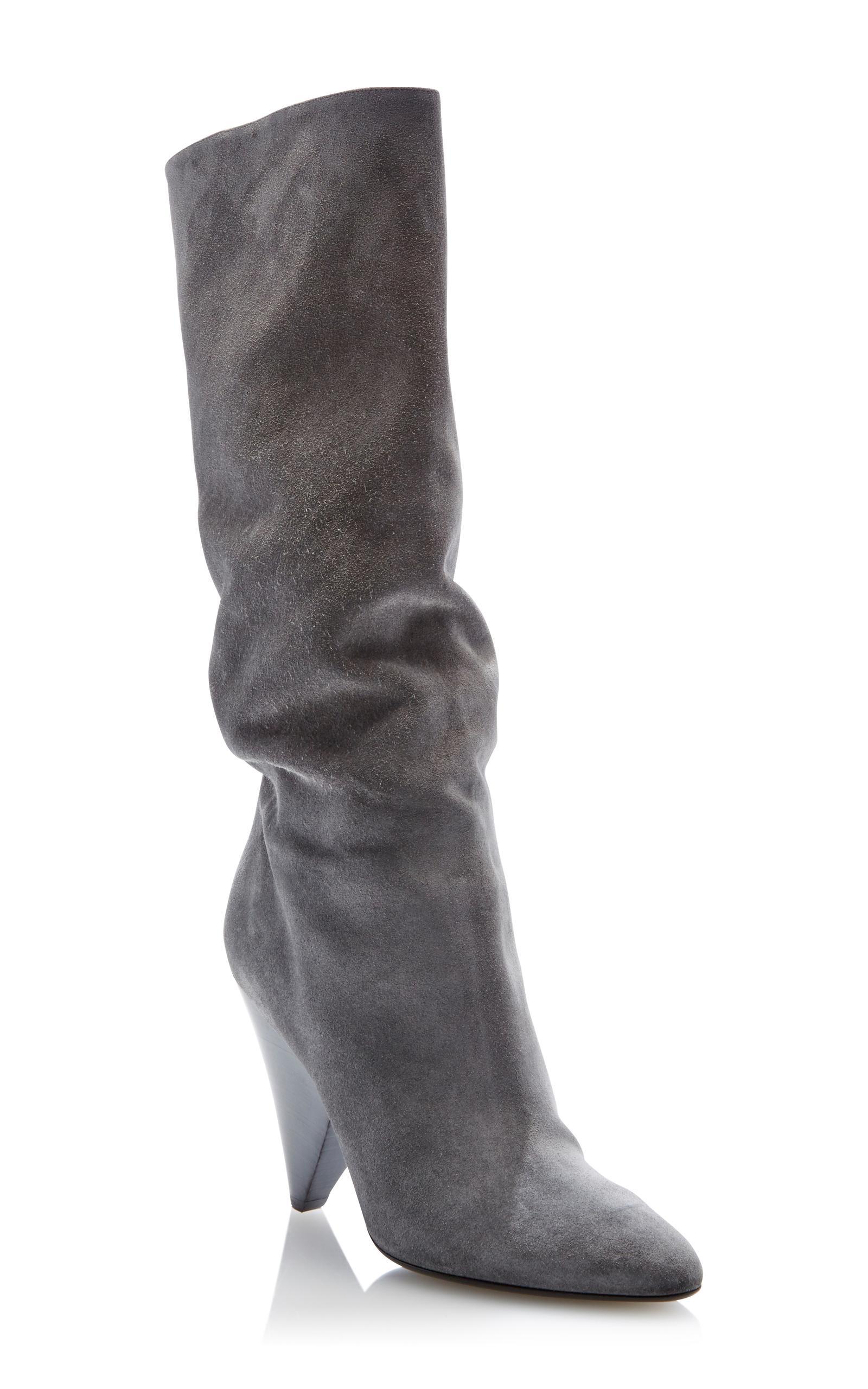 michael kors belinda suede boot in gray lyst