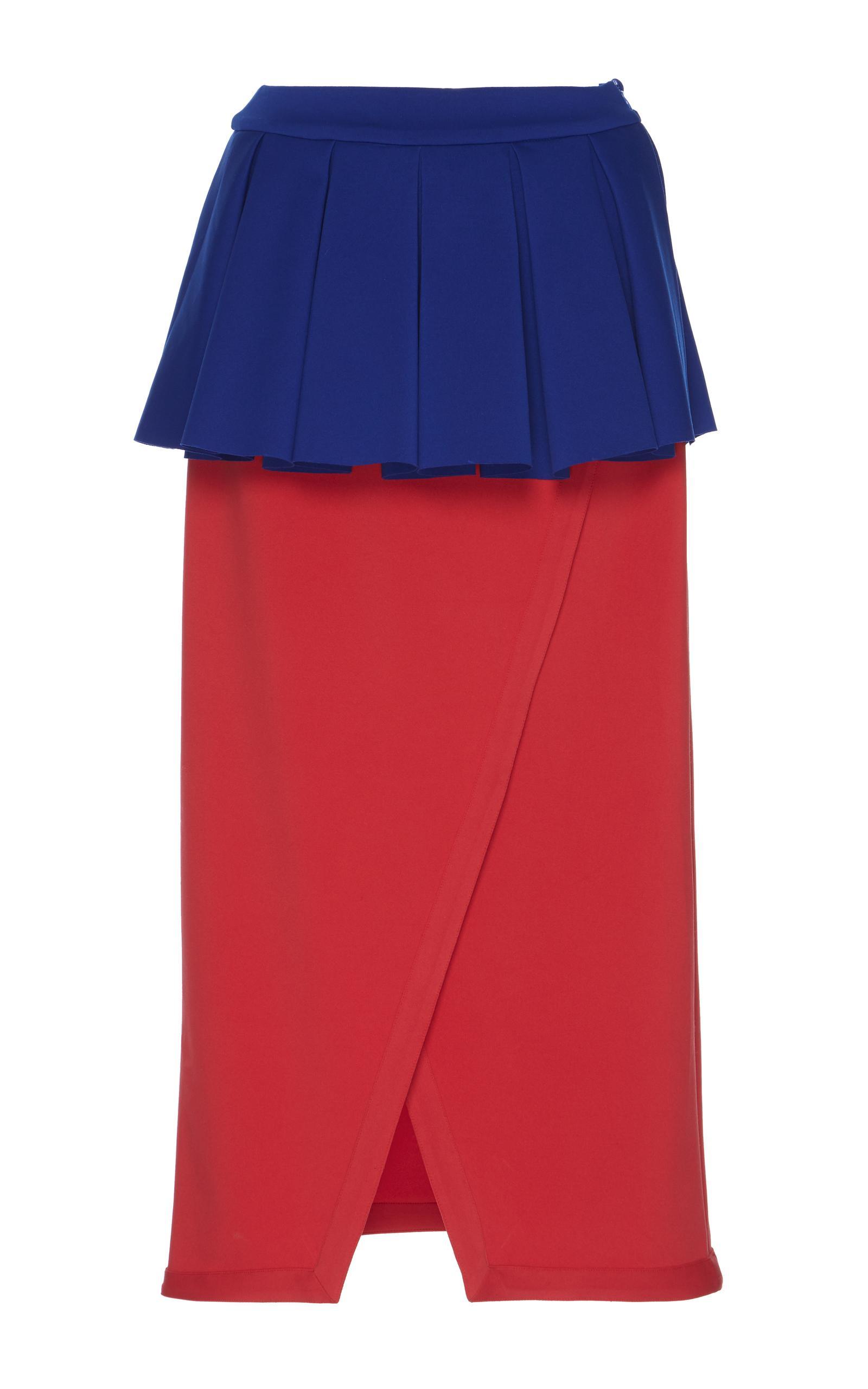 rahul mishra blooming peplum skirt in blue lyst