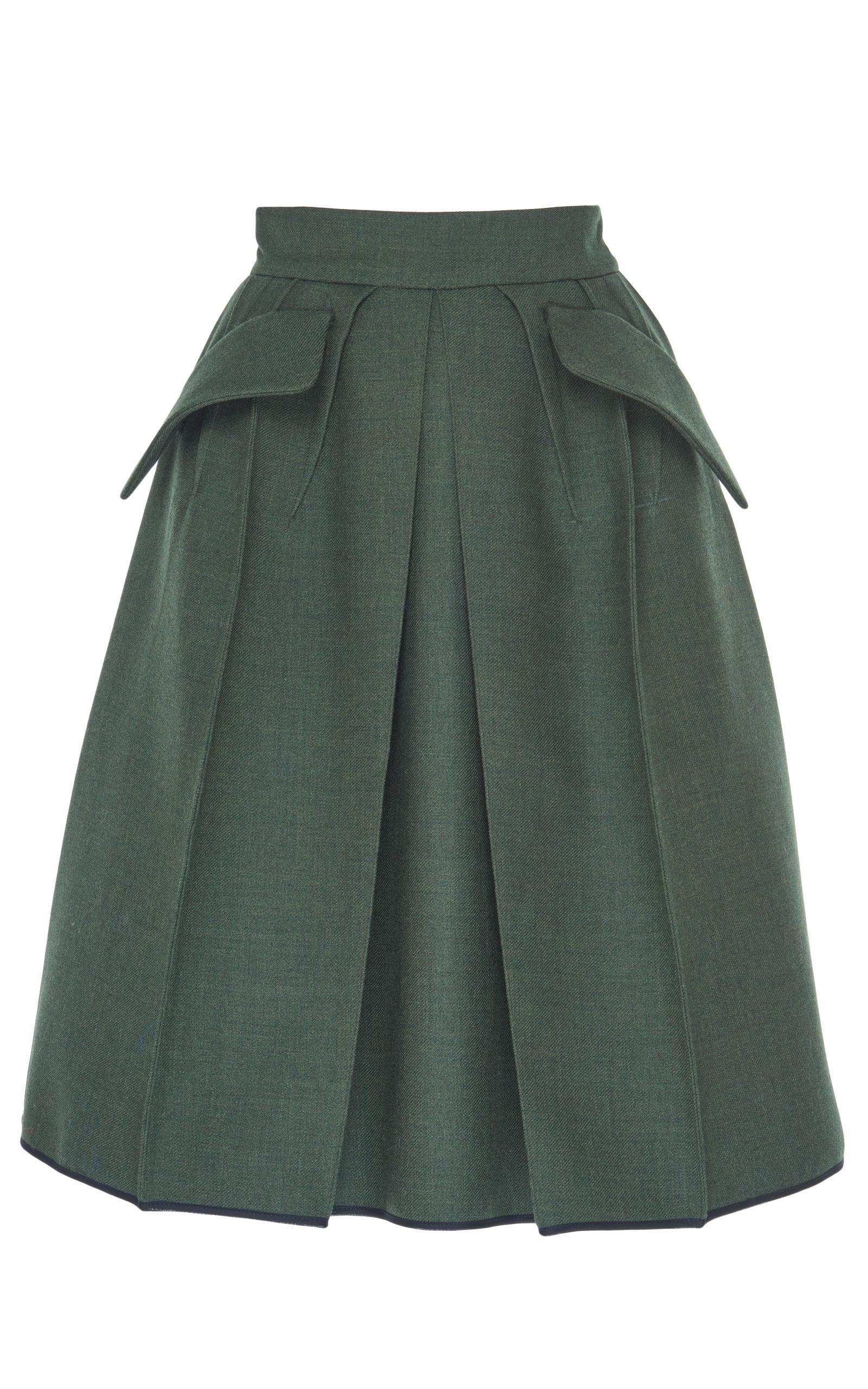 dice kayek high waisted a line skirt in green lyst