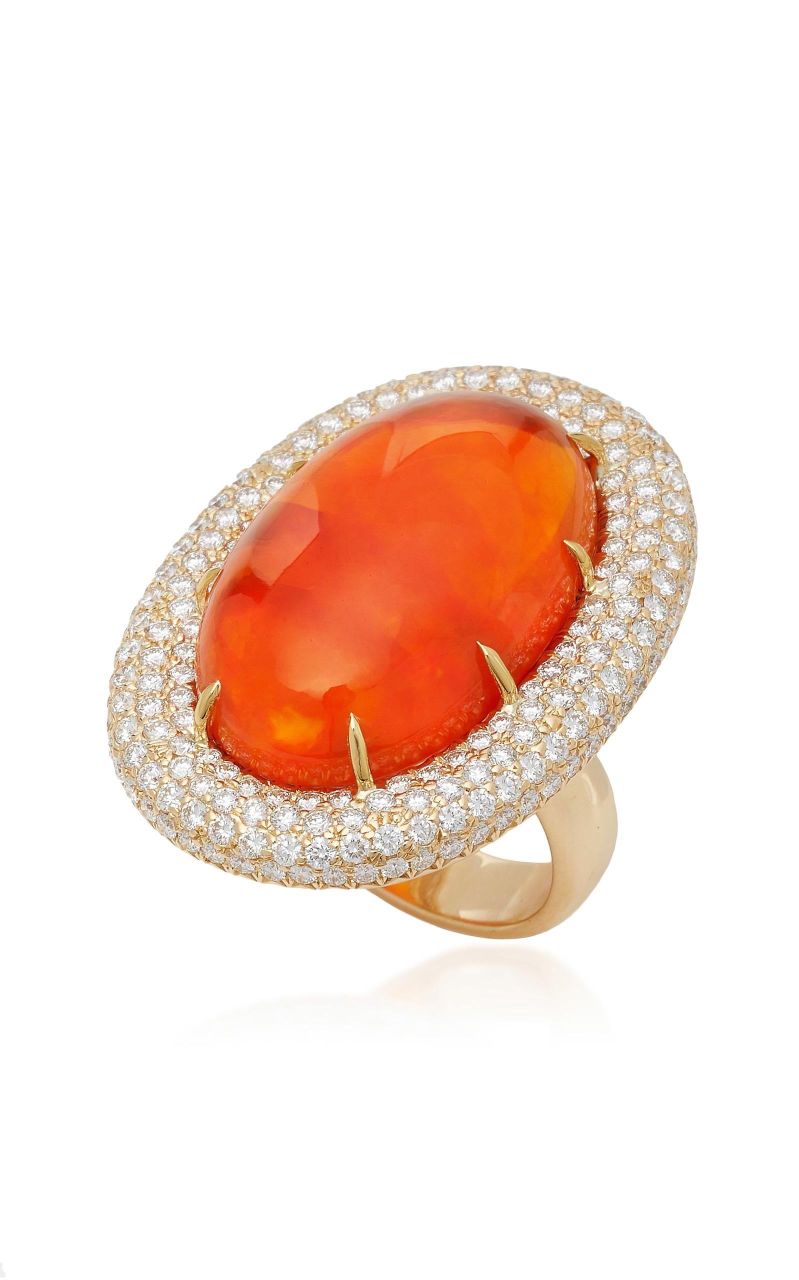 Orange Mexican Fire Opal Ring