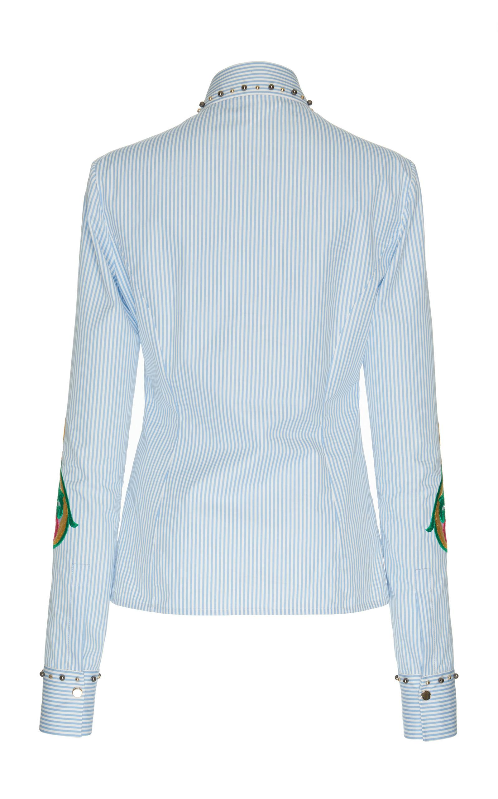 Versace embroidered stripe shirt in blue lyst for Blue and white versace shirt