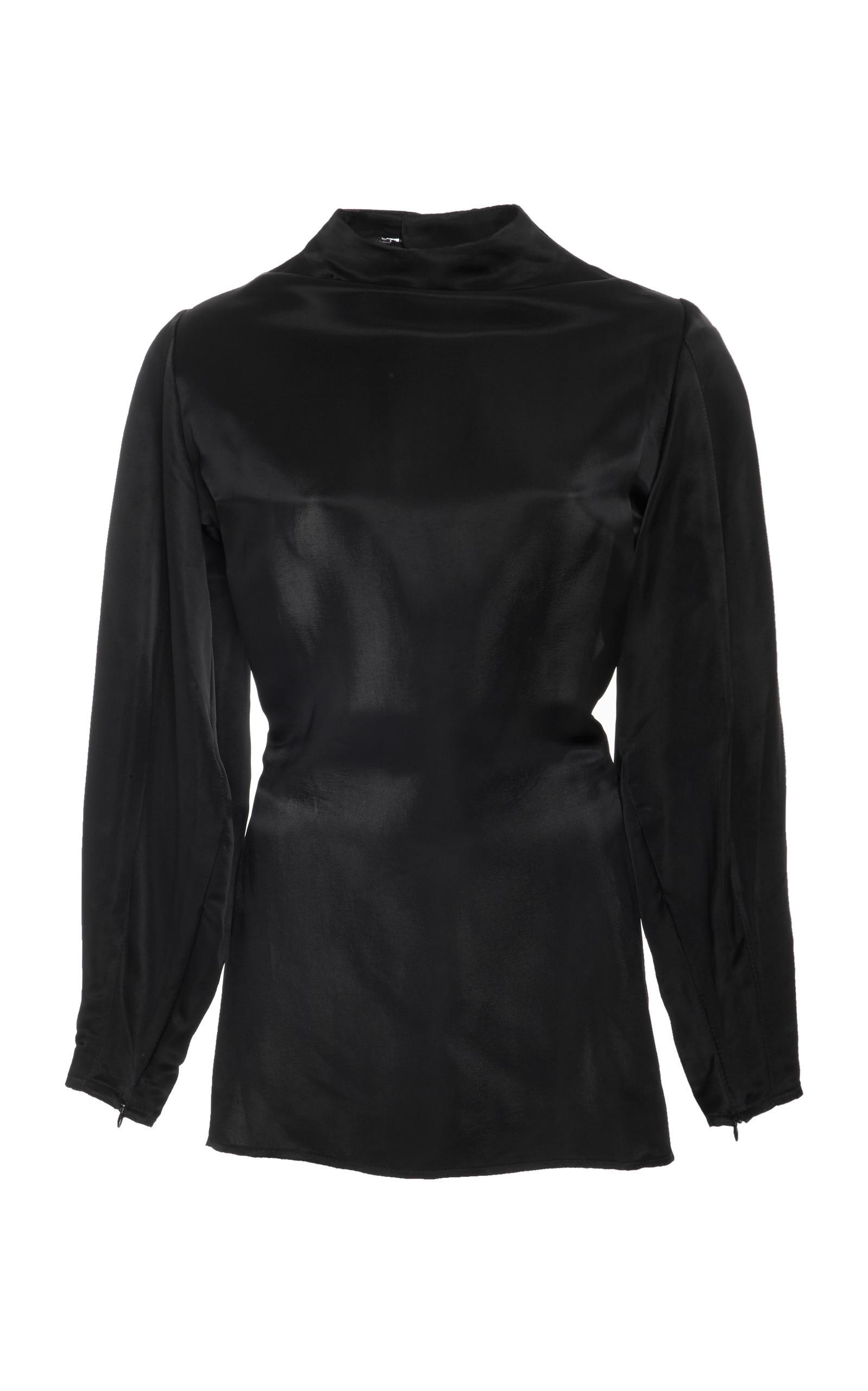 Beaufille stella long sleeve blouse in black lyst for Adam lippes women s long sleeve vee t shirt