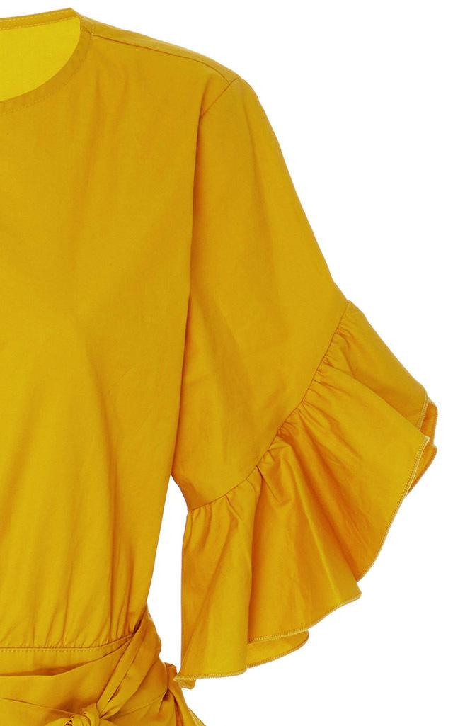 Cynthia Rowley Cotton Wallflower Ruffle Tie Dress In
