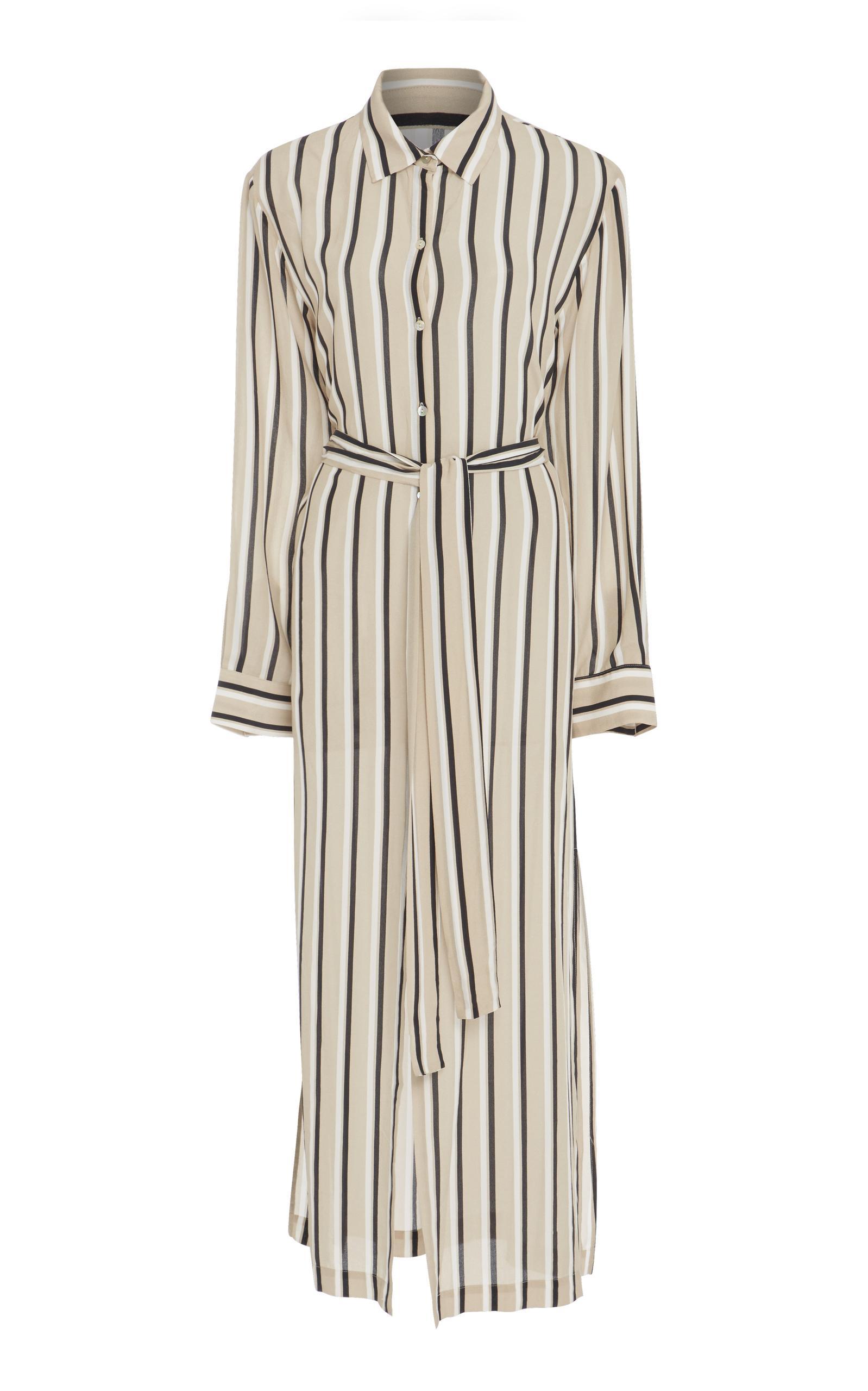 Lyst beautiful bottoms twin stripe silk long sleeve for Long sleeve silk shirt dress