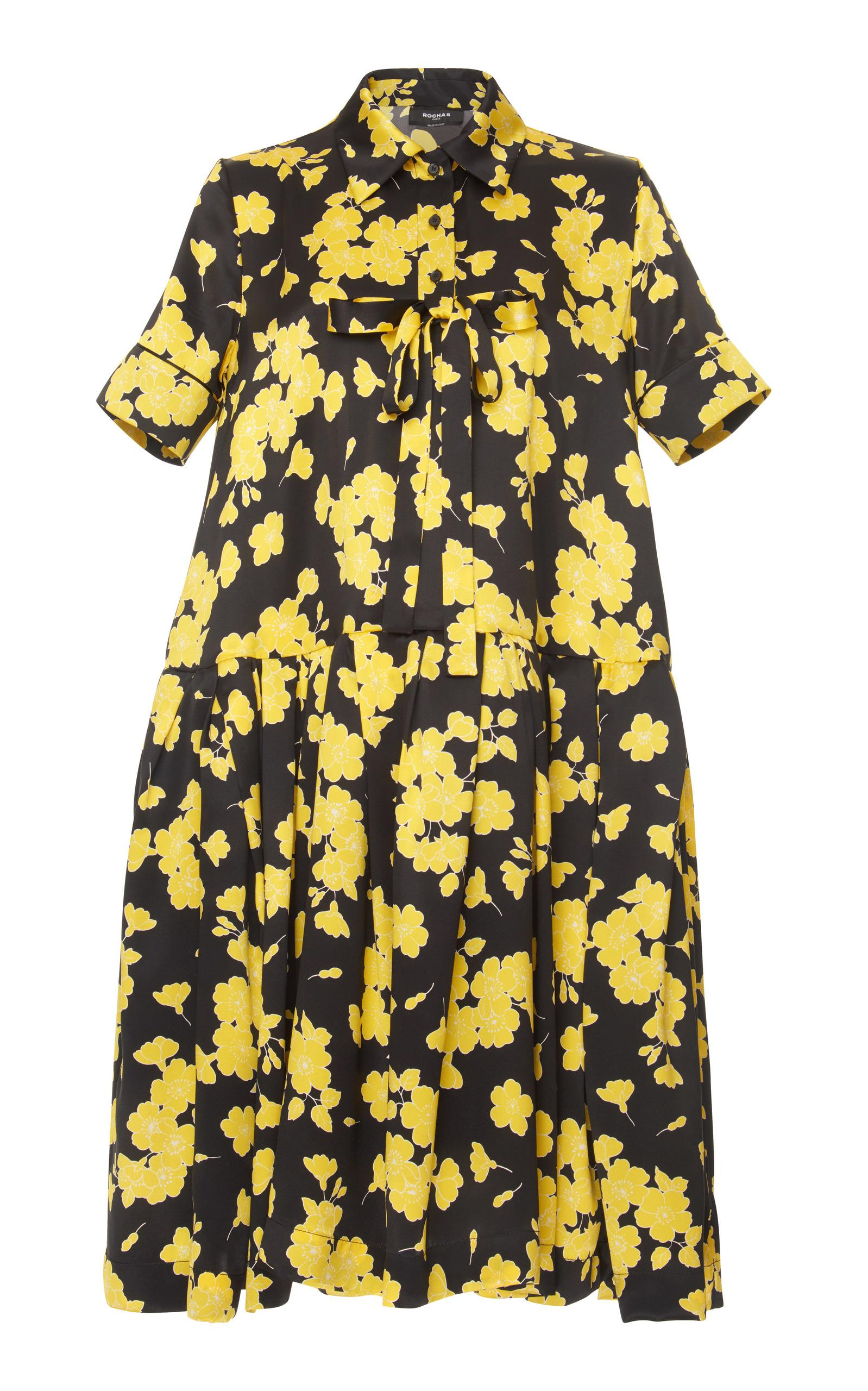 floral print flared shirt dress - Black Rochas For Sale Official Site Buy Cheap Best Wholesale Clearance Footlocker Pictures Cheap Price From China 2PI1II5iPj