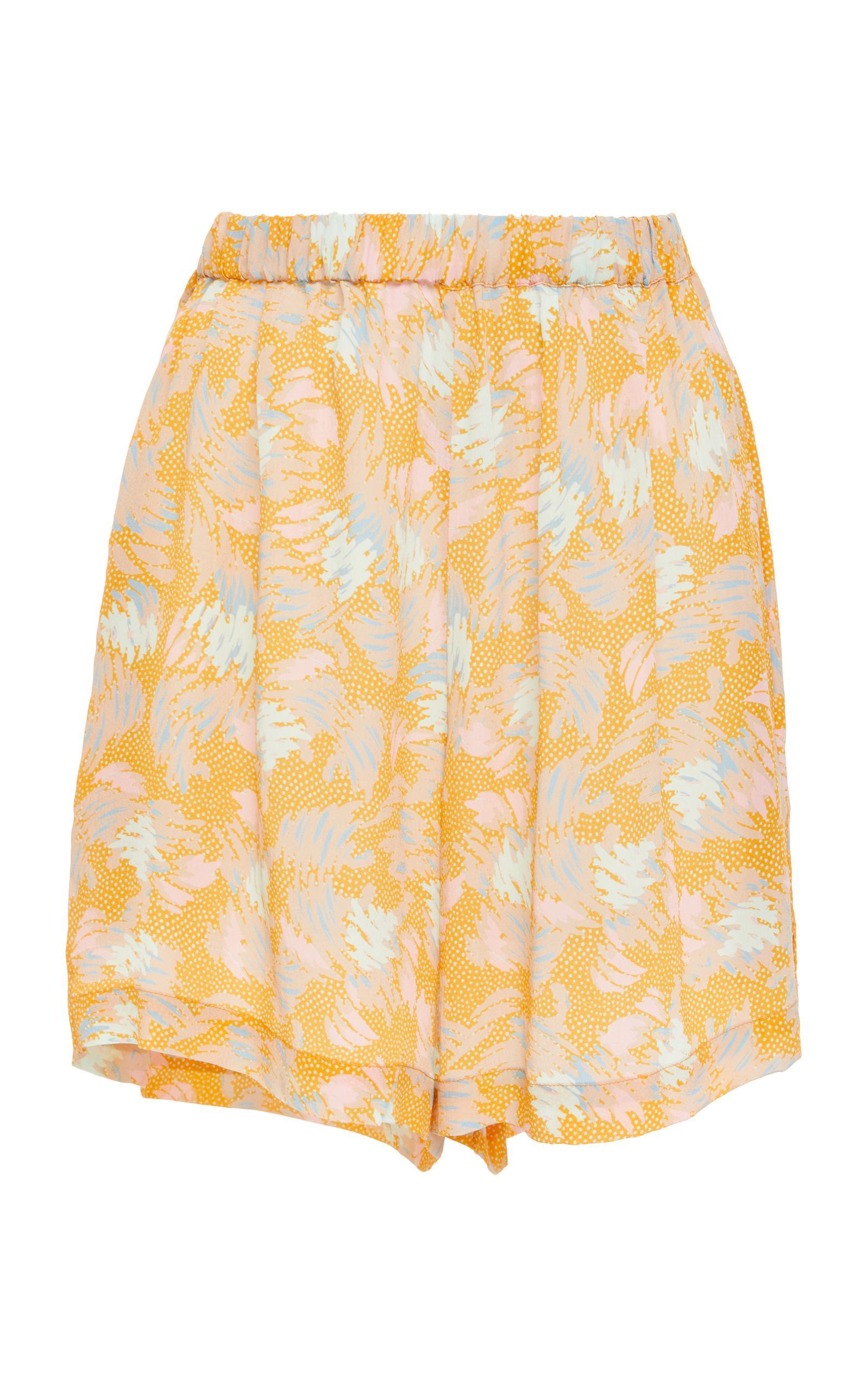 Yuna print crepe shorts - Yellow & Orange A Peace Treaty SFP30