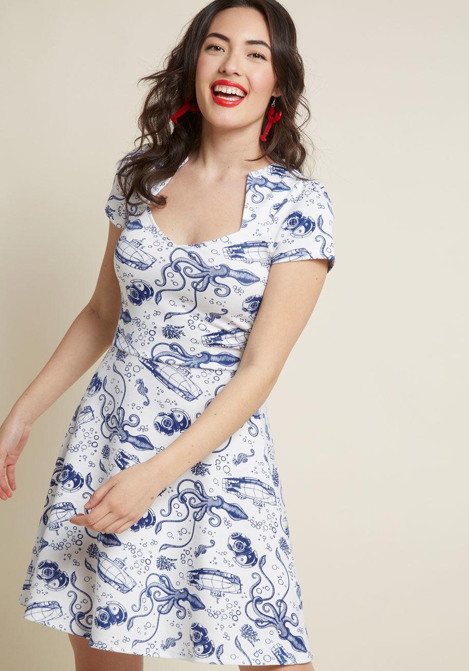 2930b52c91a Lyst - ModCloth Ooh La La Lady Dress in Blue