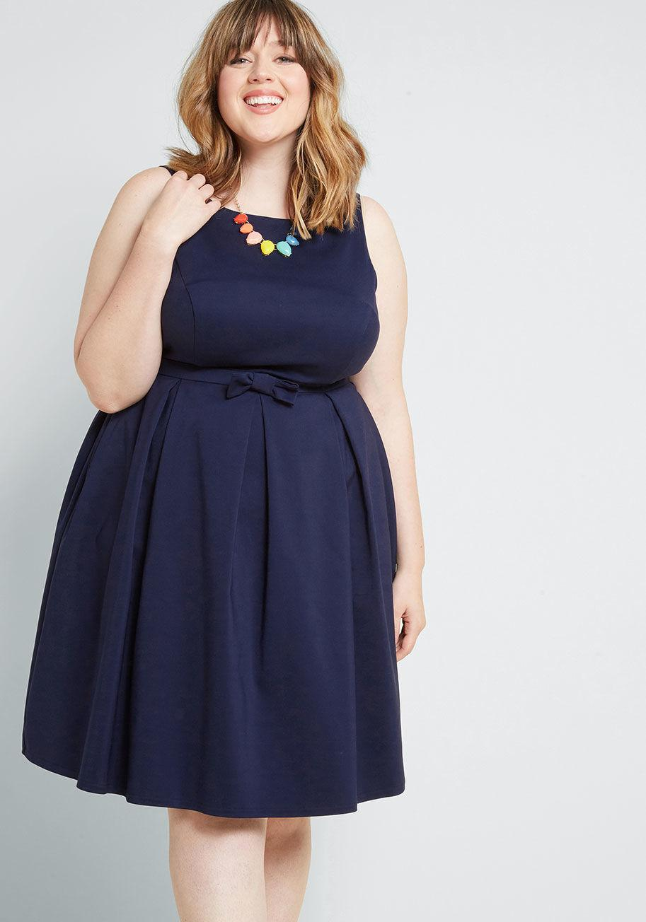 6aa499ae004 ModCloth - Blue Polish Aplenty Fit And Flare Dress - Lyst. View fullscreen