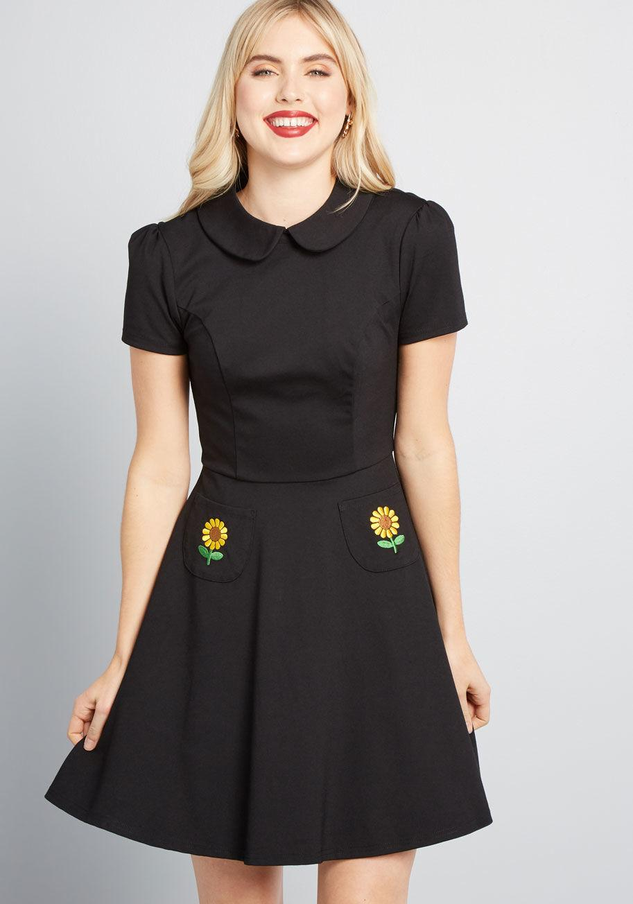 bed52fd2e104 ModCloth Spoken Sweetness Embroidered Dress in Black - Save 28% - Lyst