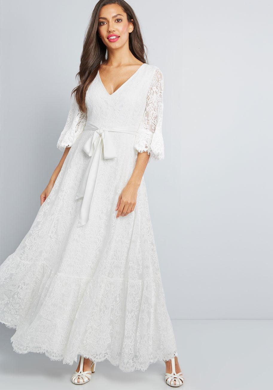 ff08102d0a216 Lyst - ModCloth Through The Bluebells Lace Maxi Dress in White