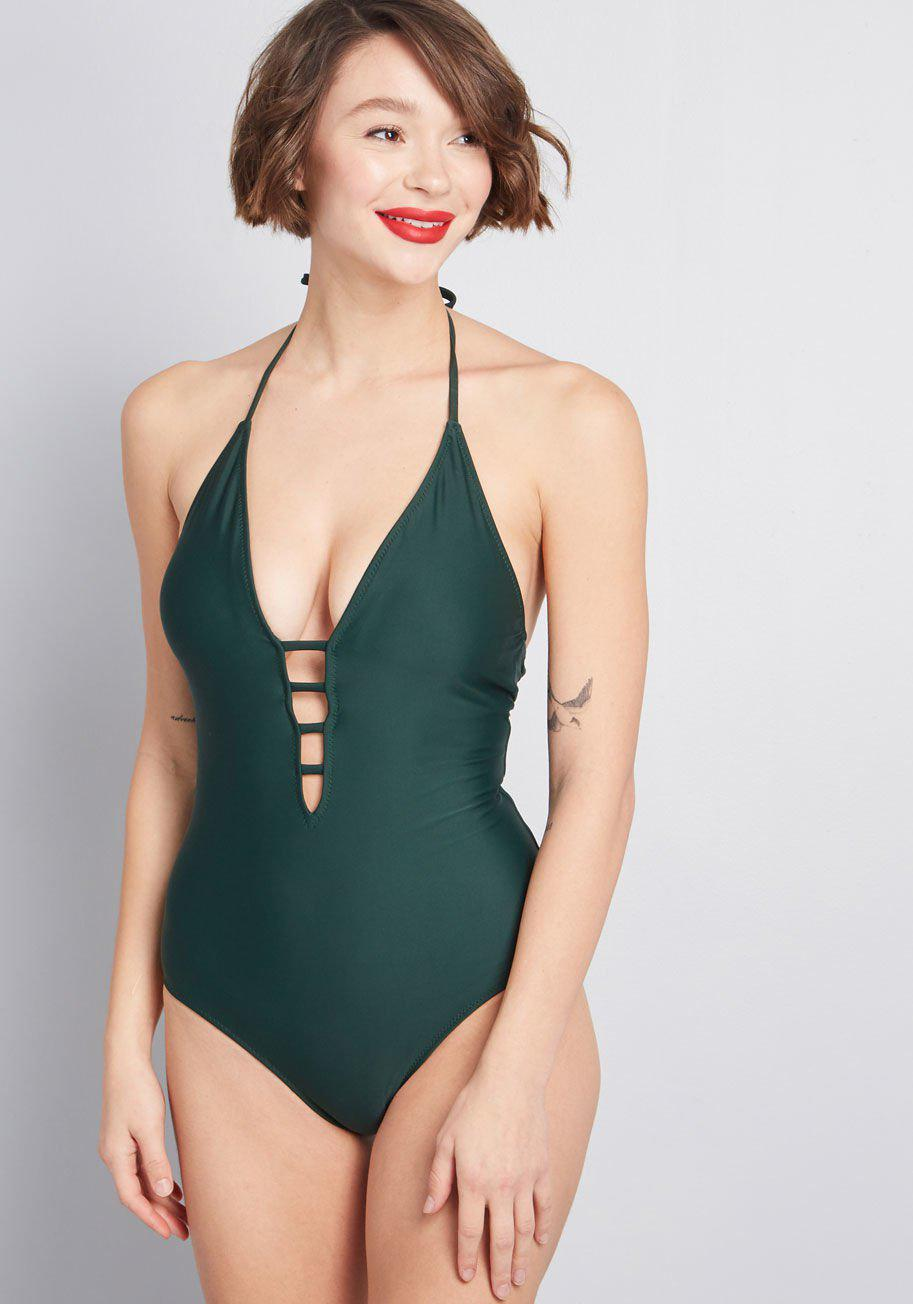 85f406e4690c8 Lyst - ModCloth The Tereza One-piece Swimsuit in Green