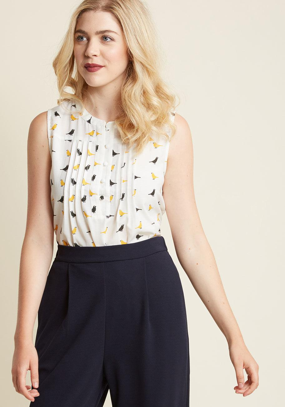 ddefa79b697 Lyst - ModCloth Freelance For The Taking Sleeveless Top In Birds in ...