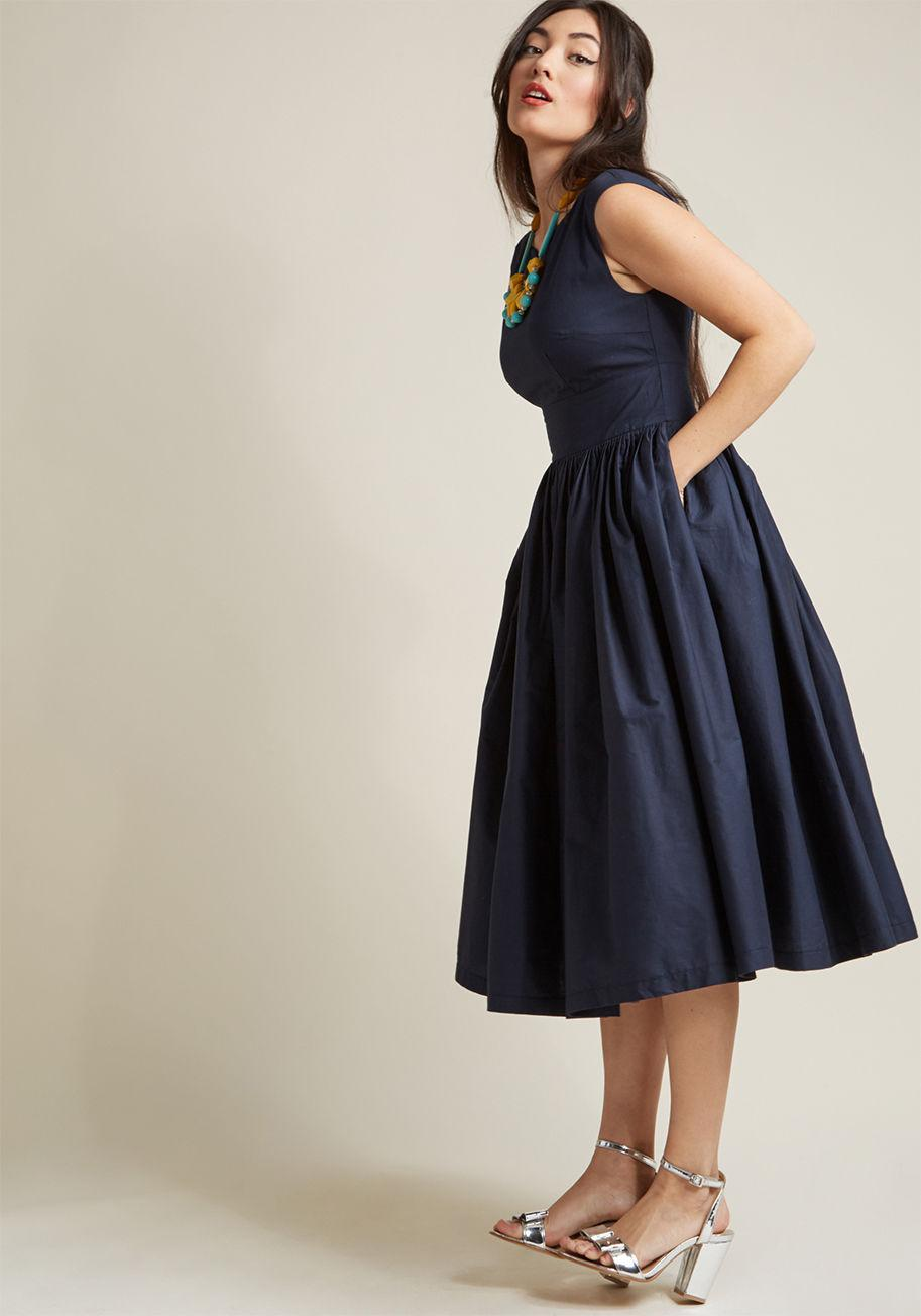 a78671b89030 ModCloth Fabulous Fit And Flare Dress With Pockets In Navy in Blue ...