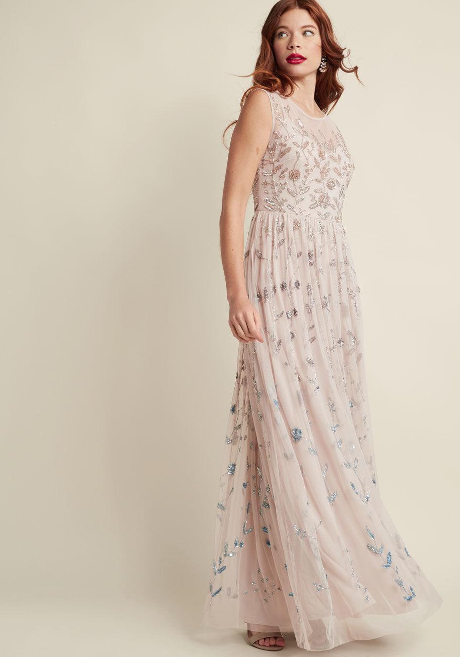 5d81100e8466b Adrianna Papell Love Of Luxe Maxi Dress In Blush - Lyst