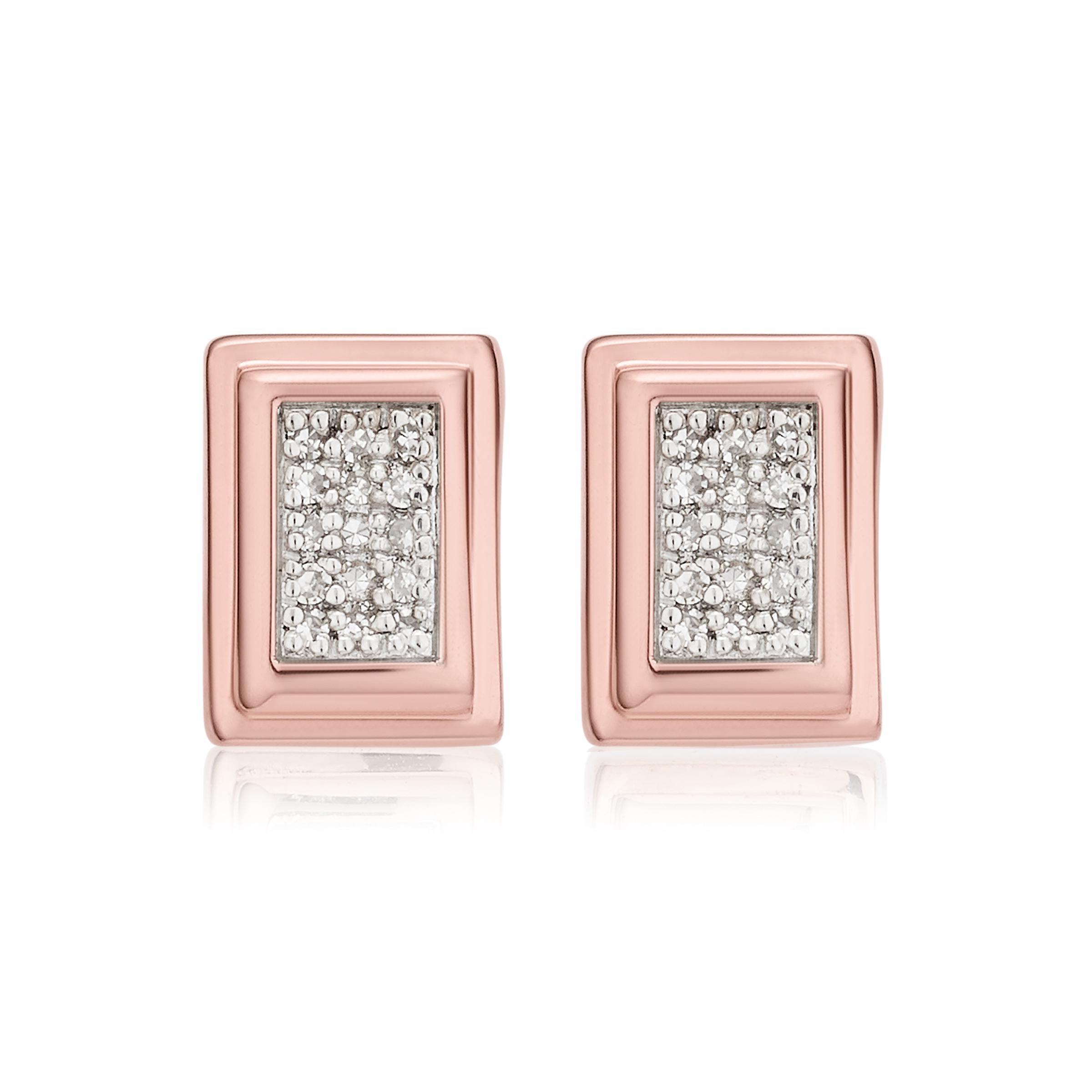 Rose Gold Baja Deco Stud Diamond Earrings Diamond Monica Vinader fMhPV