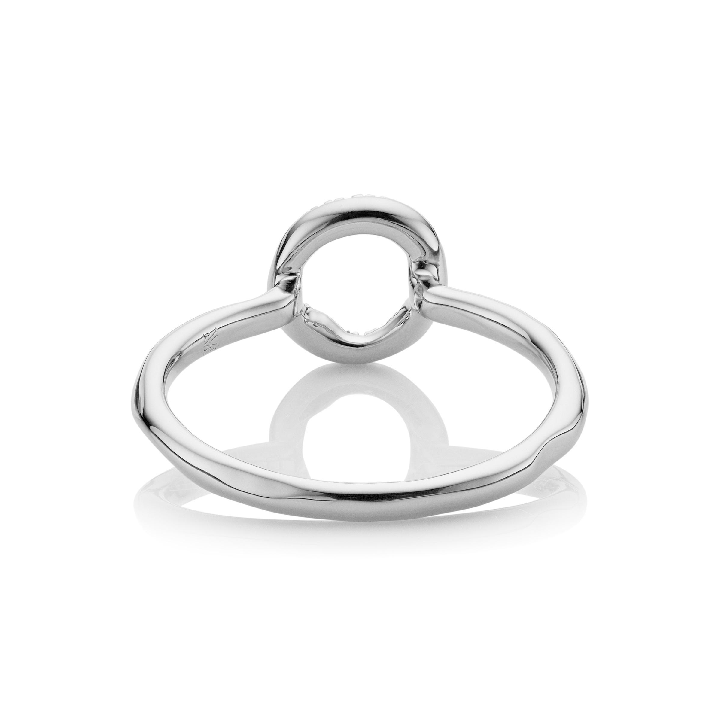 Rose Gold Riva Mini Circle Stacking Ring Diamond Monica Vinader NZO5rEm