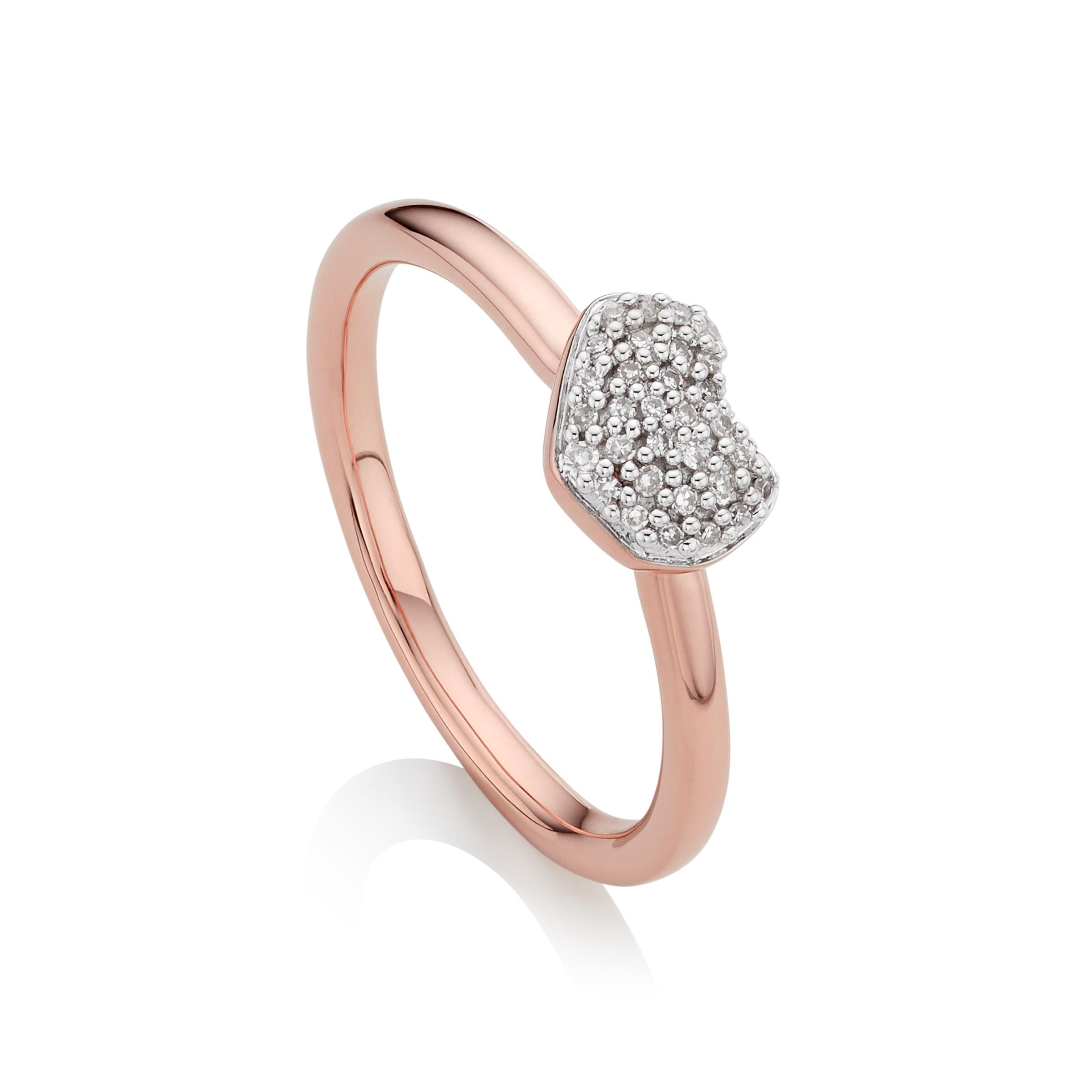 Rose Gold Nura Mini Heart Ring Diamond Monica Vinader GSDN1LXoB
