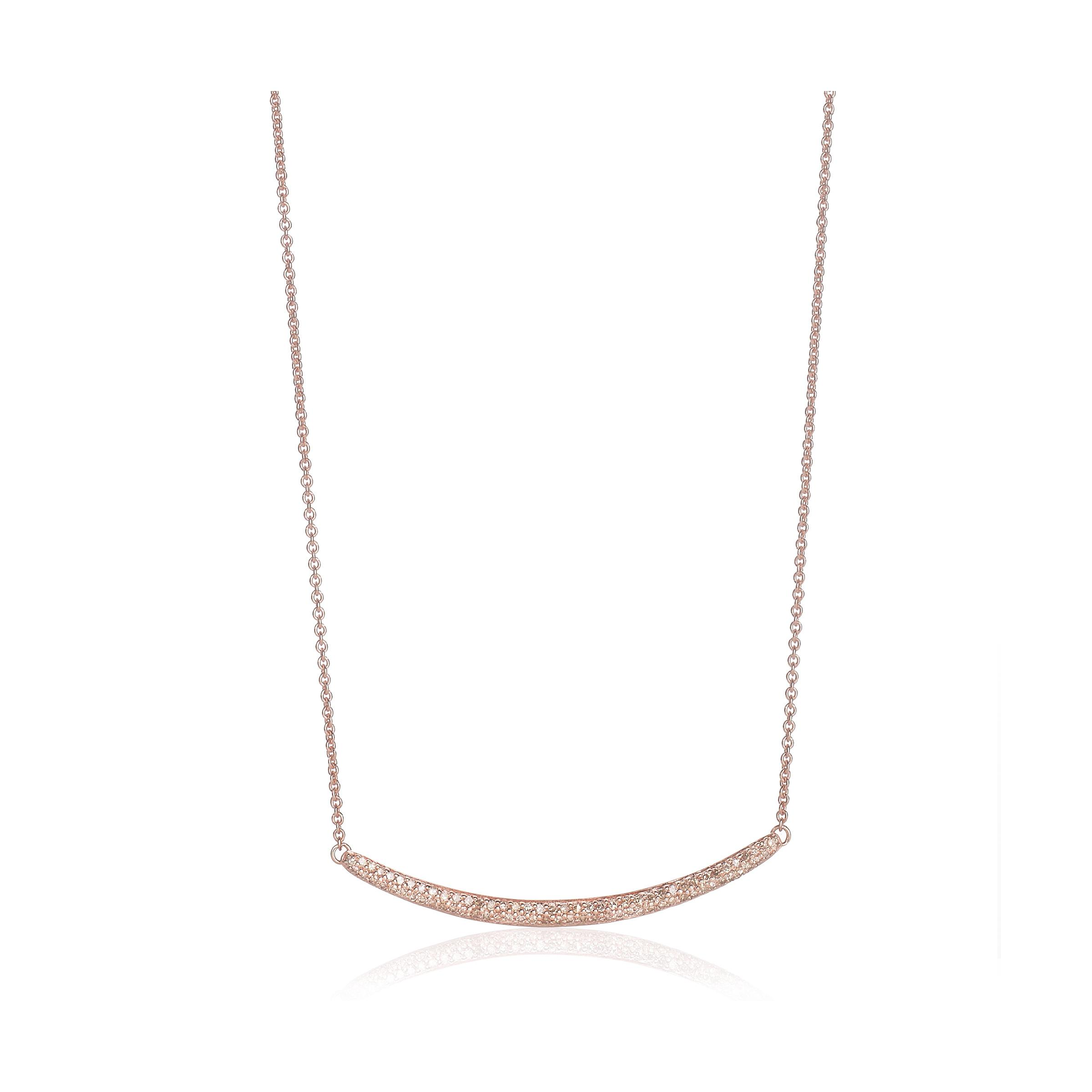 Rose Gold Skinny Curve Necklace Champagne Diamond Monica Vinader 8nlEJg