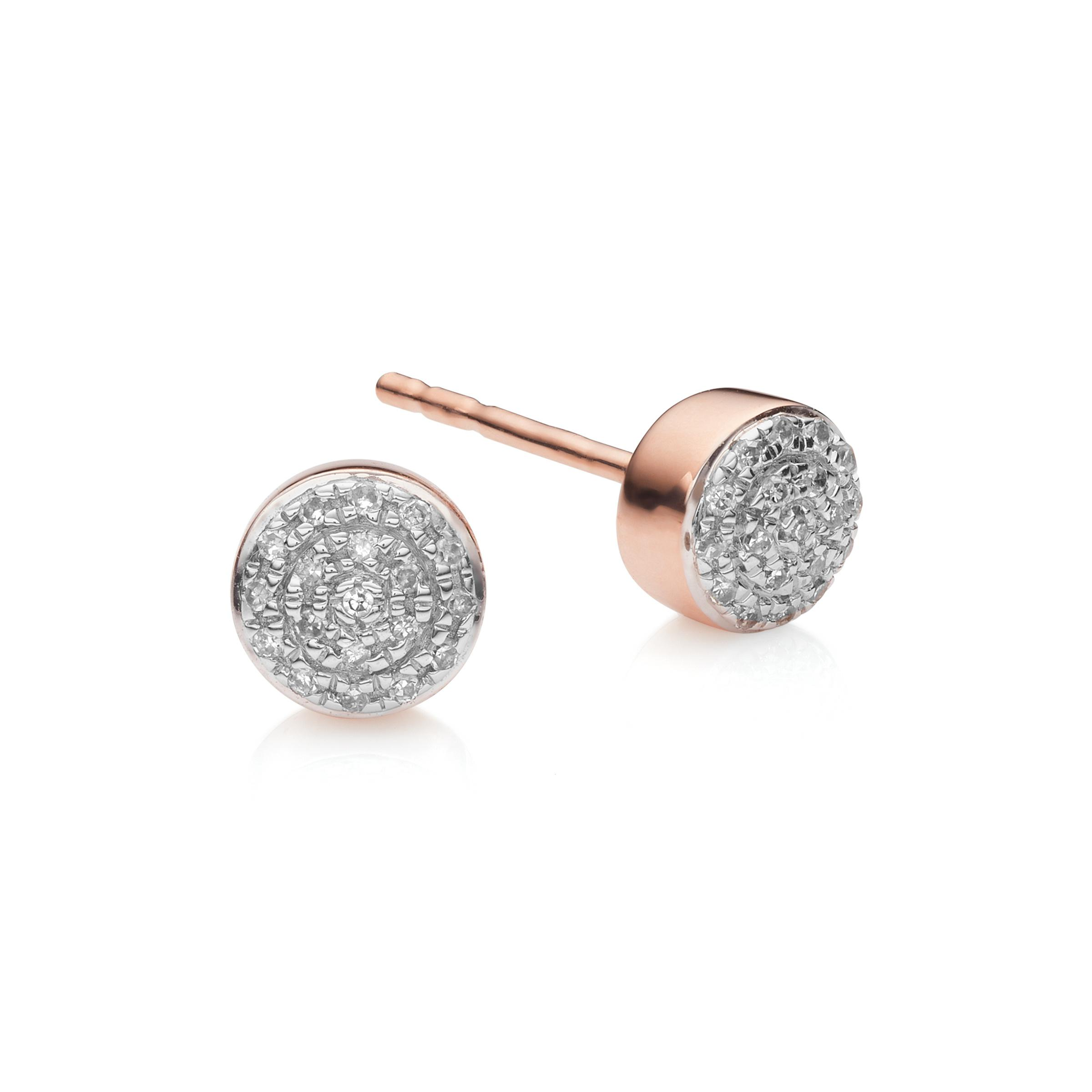 gold diamond stud cut earrings button