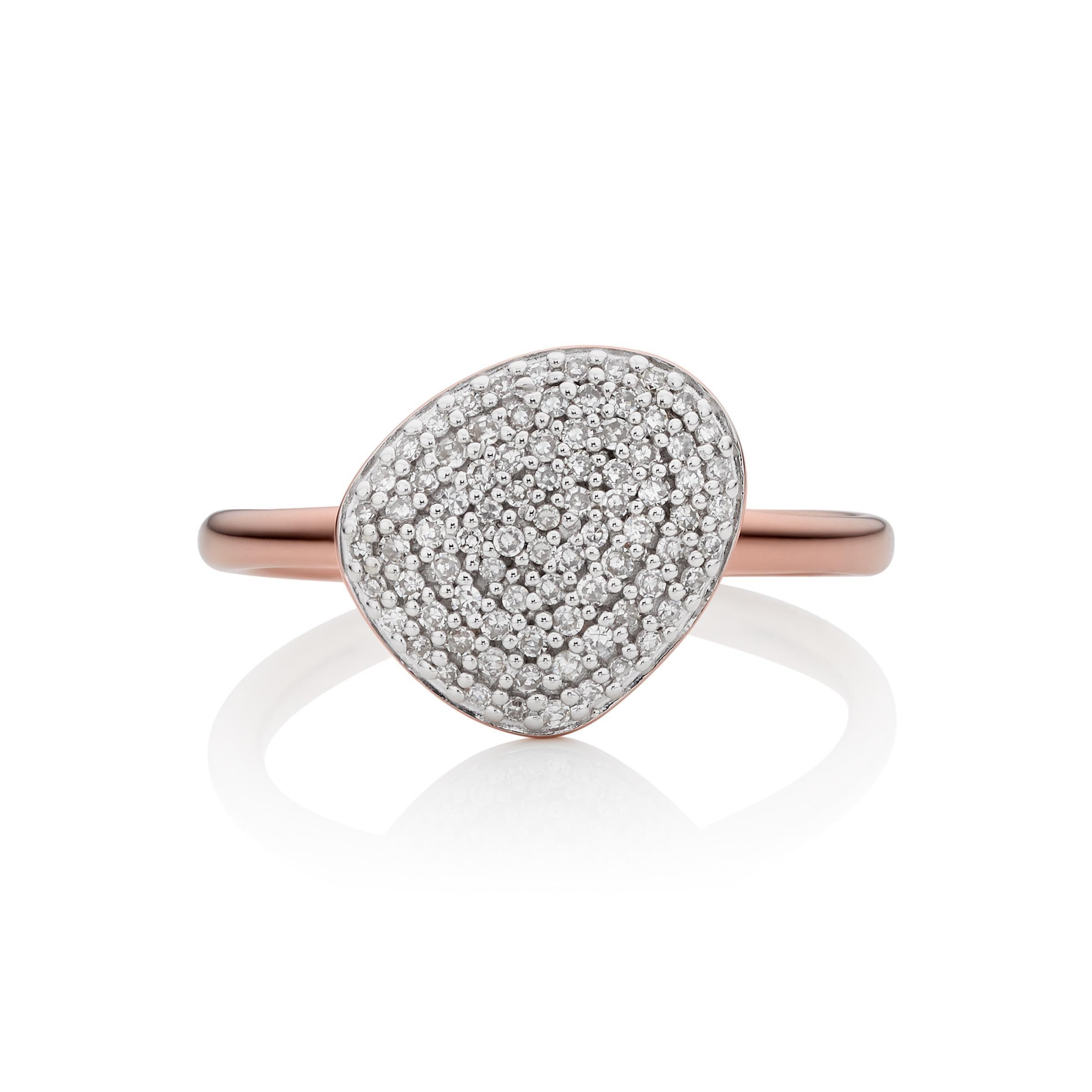 Rose Gold Nura Pebble Stacking Diamond Ring Diamond Monica Vinader dUUKSPvDH