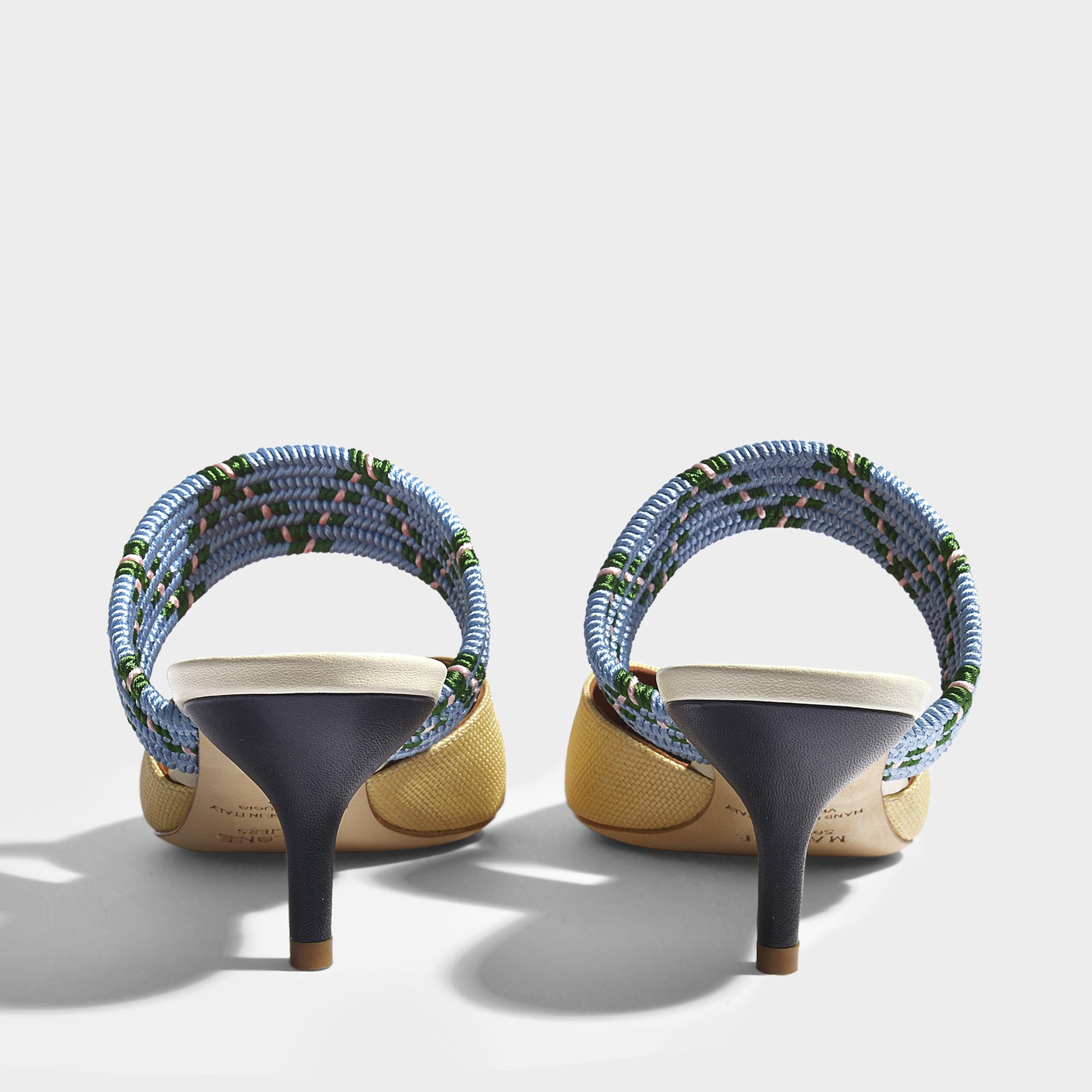 Maisie Raffia mule Shoes in Natural Blue Silk Satin and Metallic Nappa Leather Malone Souliers gvCpj
