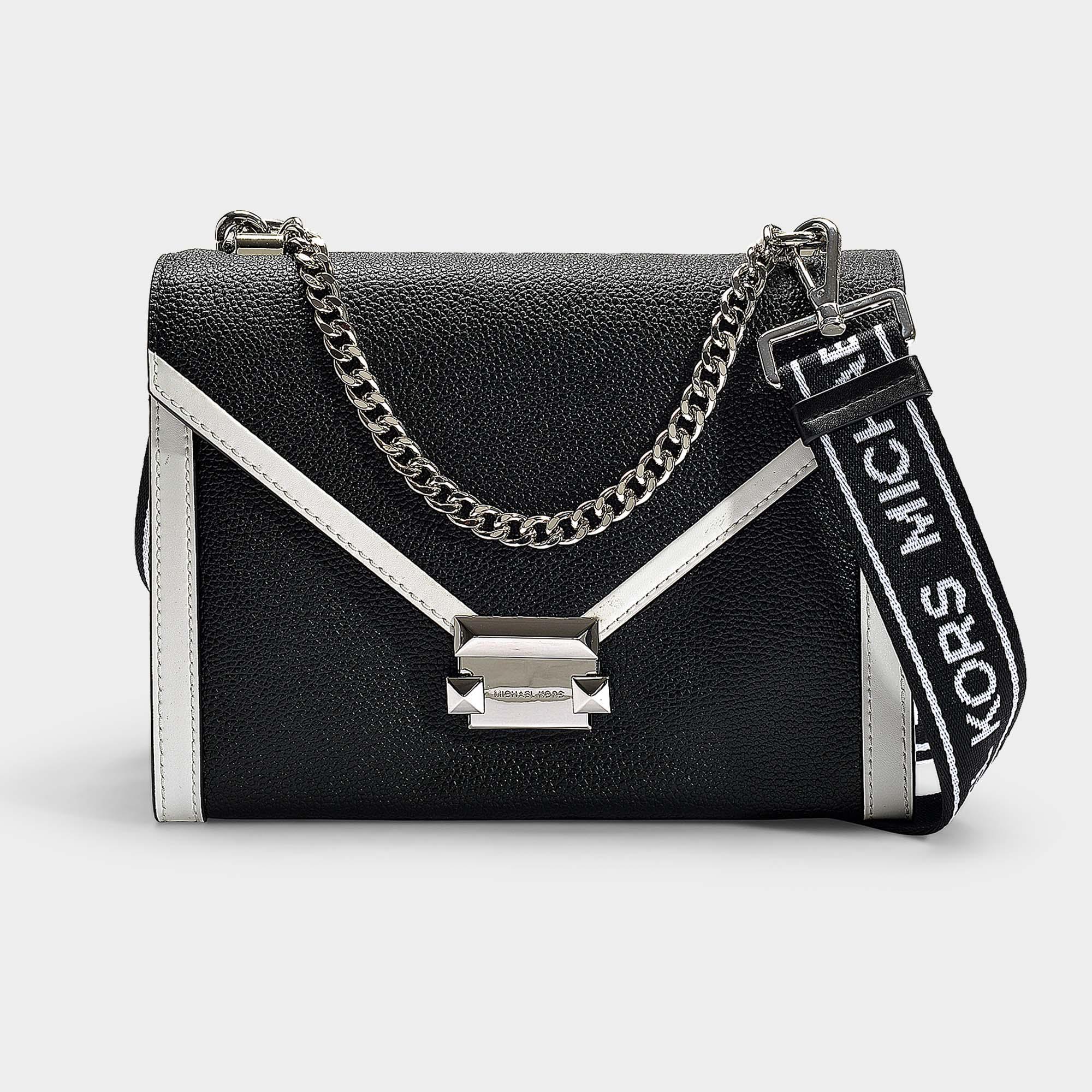 d6dffe48dae0 MICHAEL Michael Kors. Women's Whitney Large Shoulder Bag In Black And Optic  White Grained Calfskin
