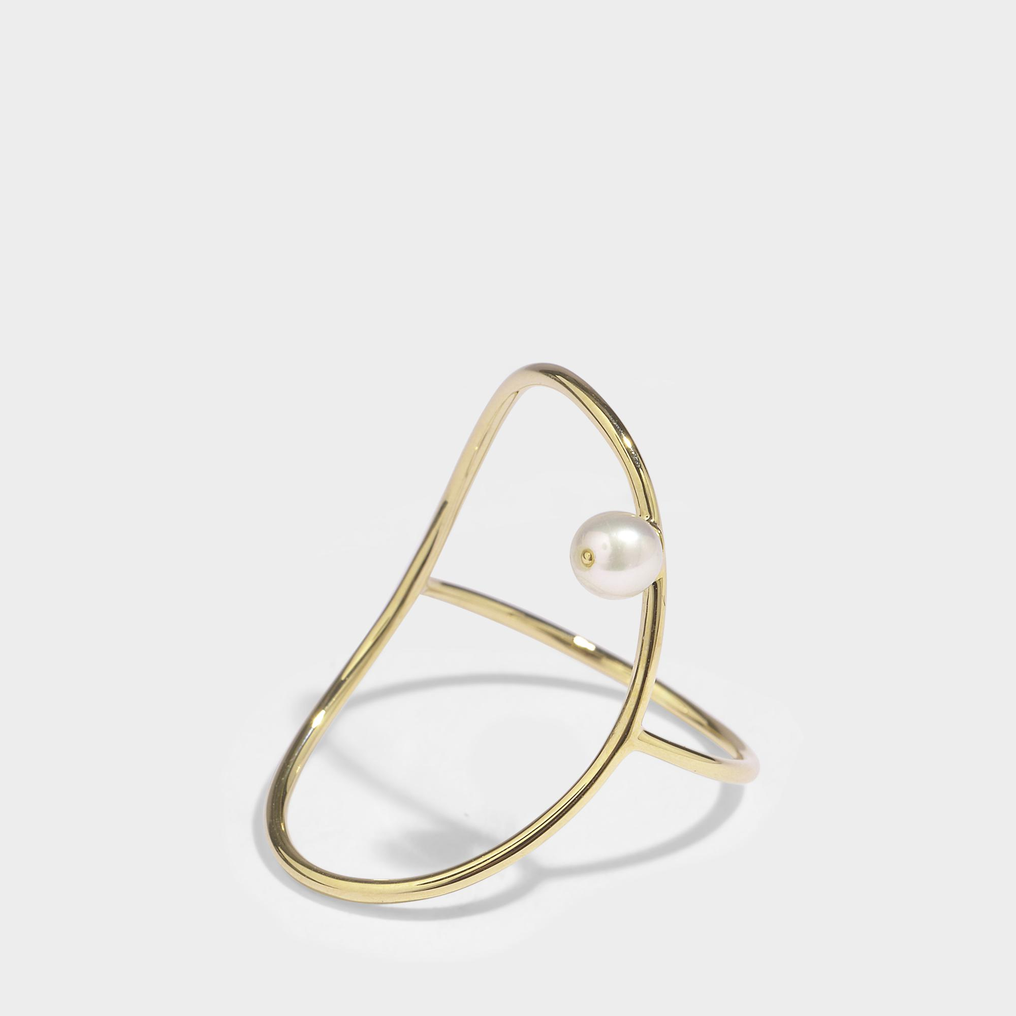 Oval Perlee Ring in 14K Yellow Gold Anissa Kermiche NzZMtlae