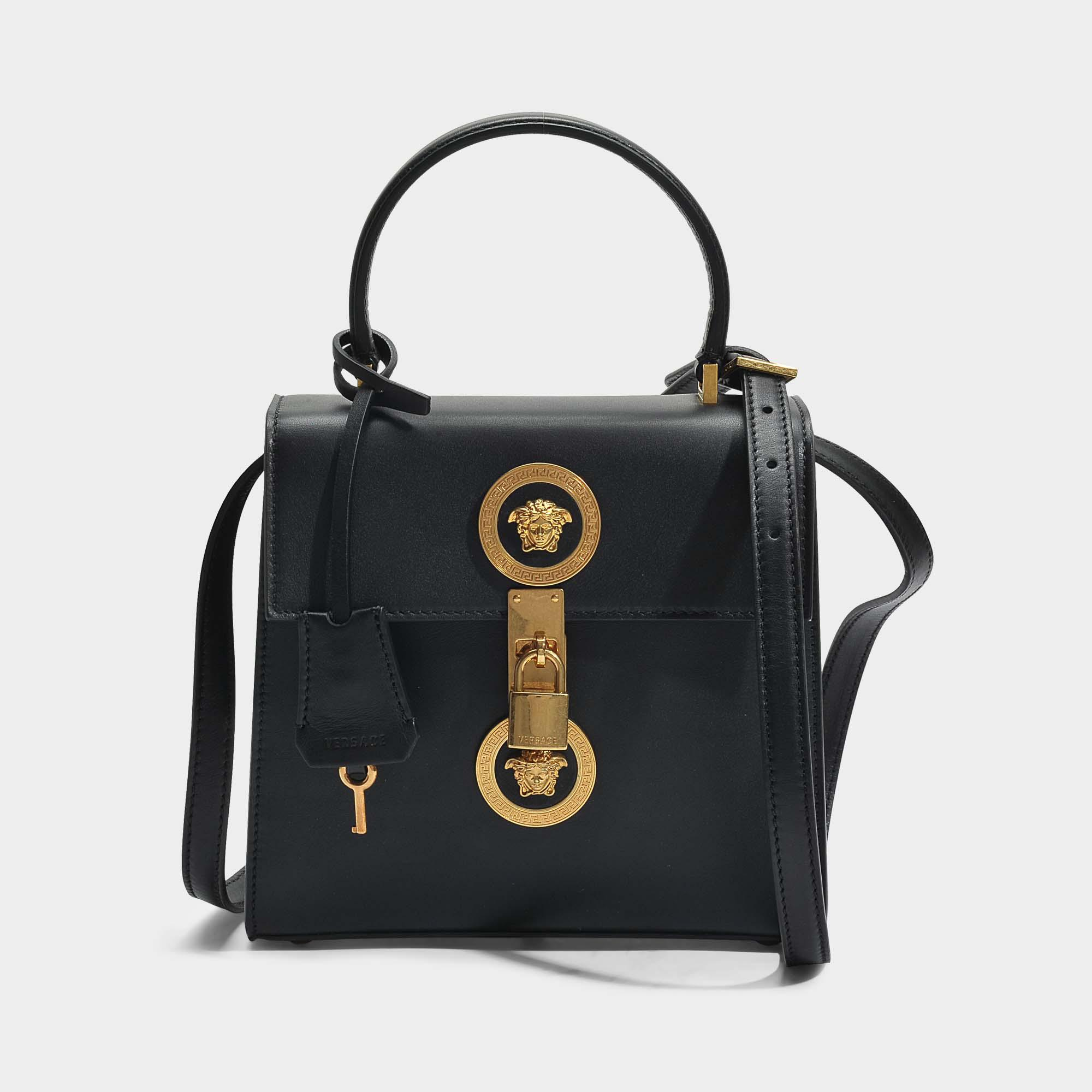 Versace Tribute Icon Medusa Vertical Small Top Handle Bag in Black Calfskin Versace wxJoMcmMe