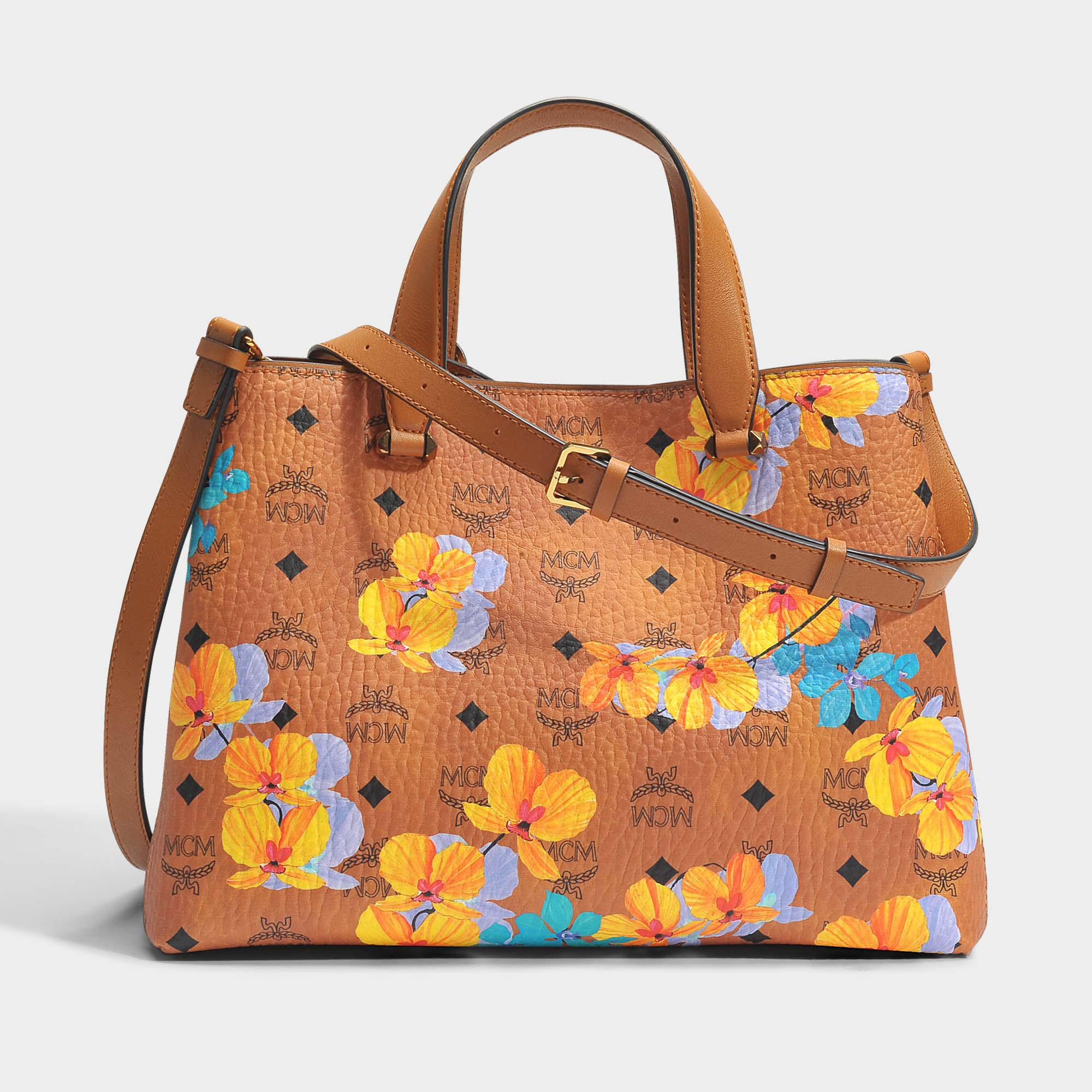 Mcm Fleur Sac Shopping Moyen En Coton Enduit De Cognac DKVlV