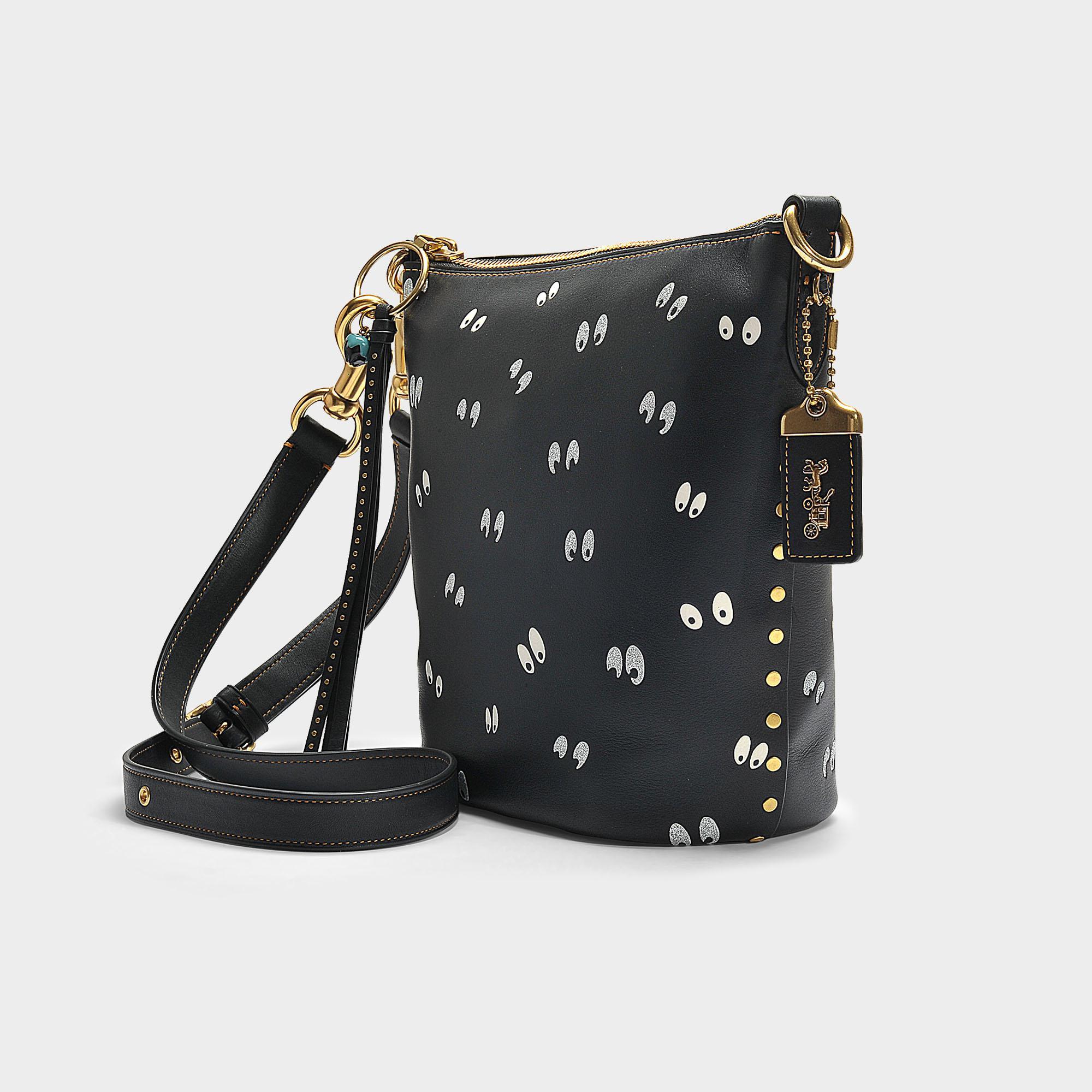 8a7d3173bc09 Lyst - COACH Spooky Eyes Print Duffle 20 Bag In Black Calfskin