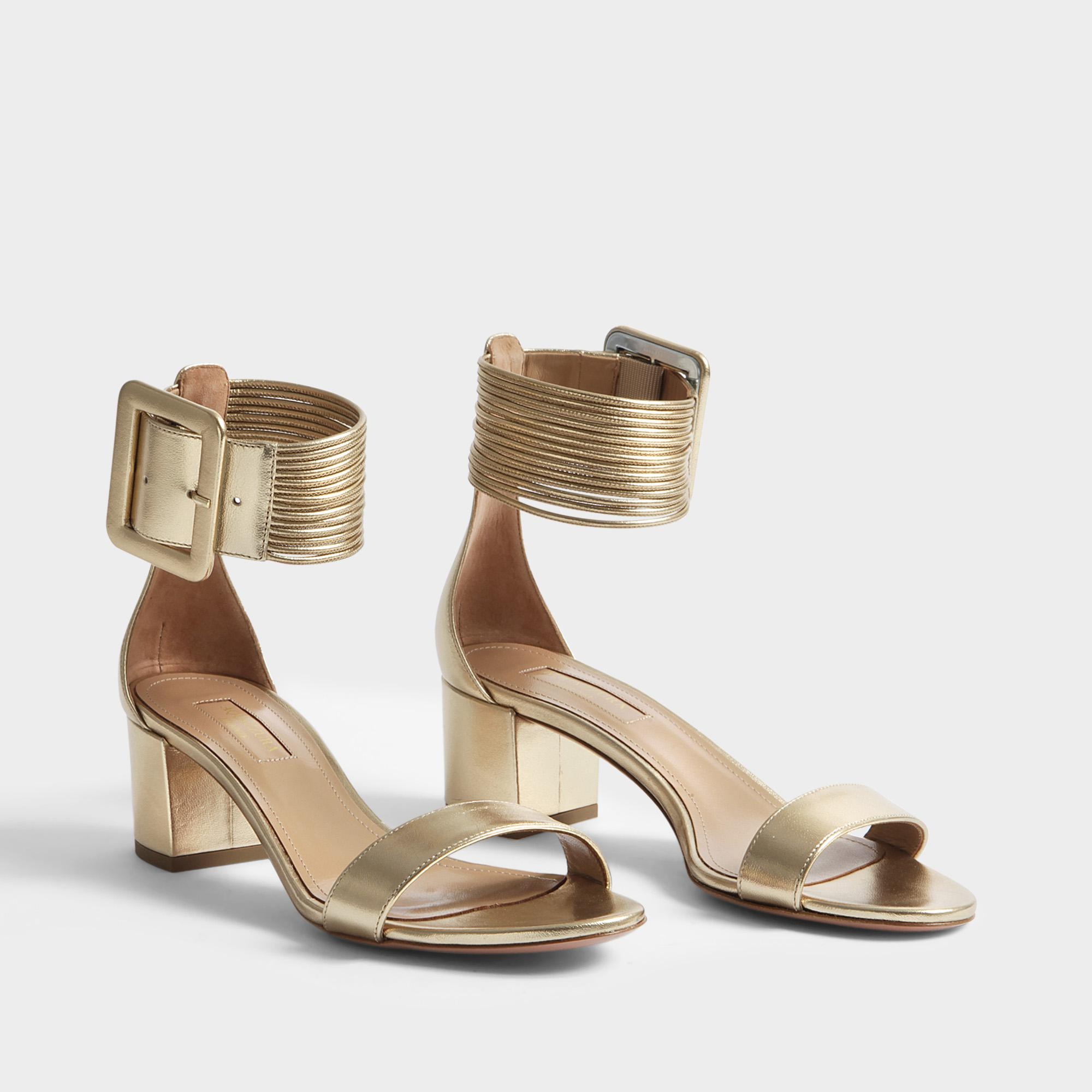 Cheap Hot Sale Perfect Online Casablanca Sandals 50 in Soft Gold Nappa Laminata Leather Aquazzura Buy Cheap Pay With Visa Free Shipping Outlet TknsB