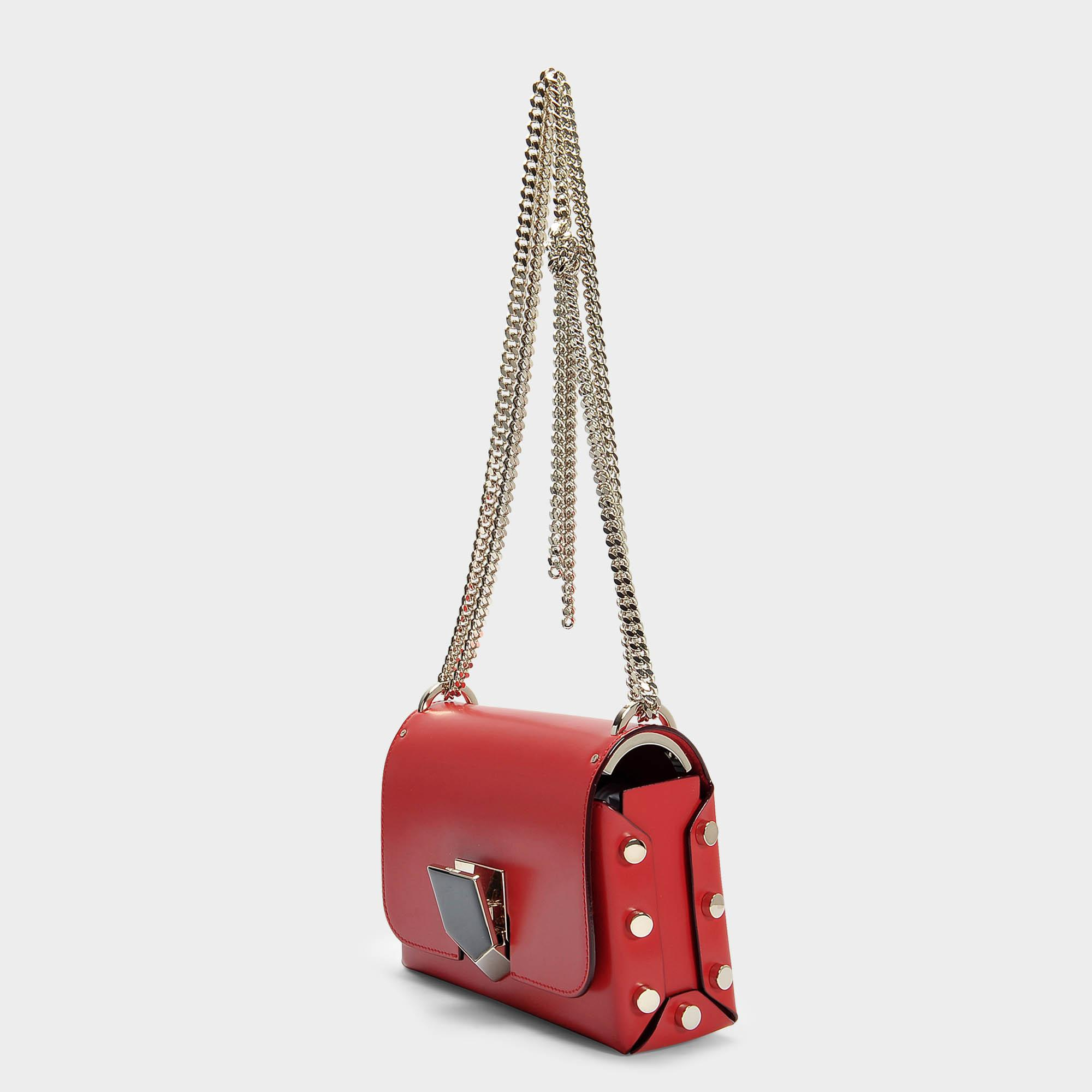 Lockett Petite Bag in Red and Chrome Spazzolato Leather Jimmy Choo London 5f752
