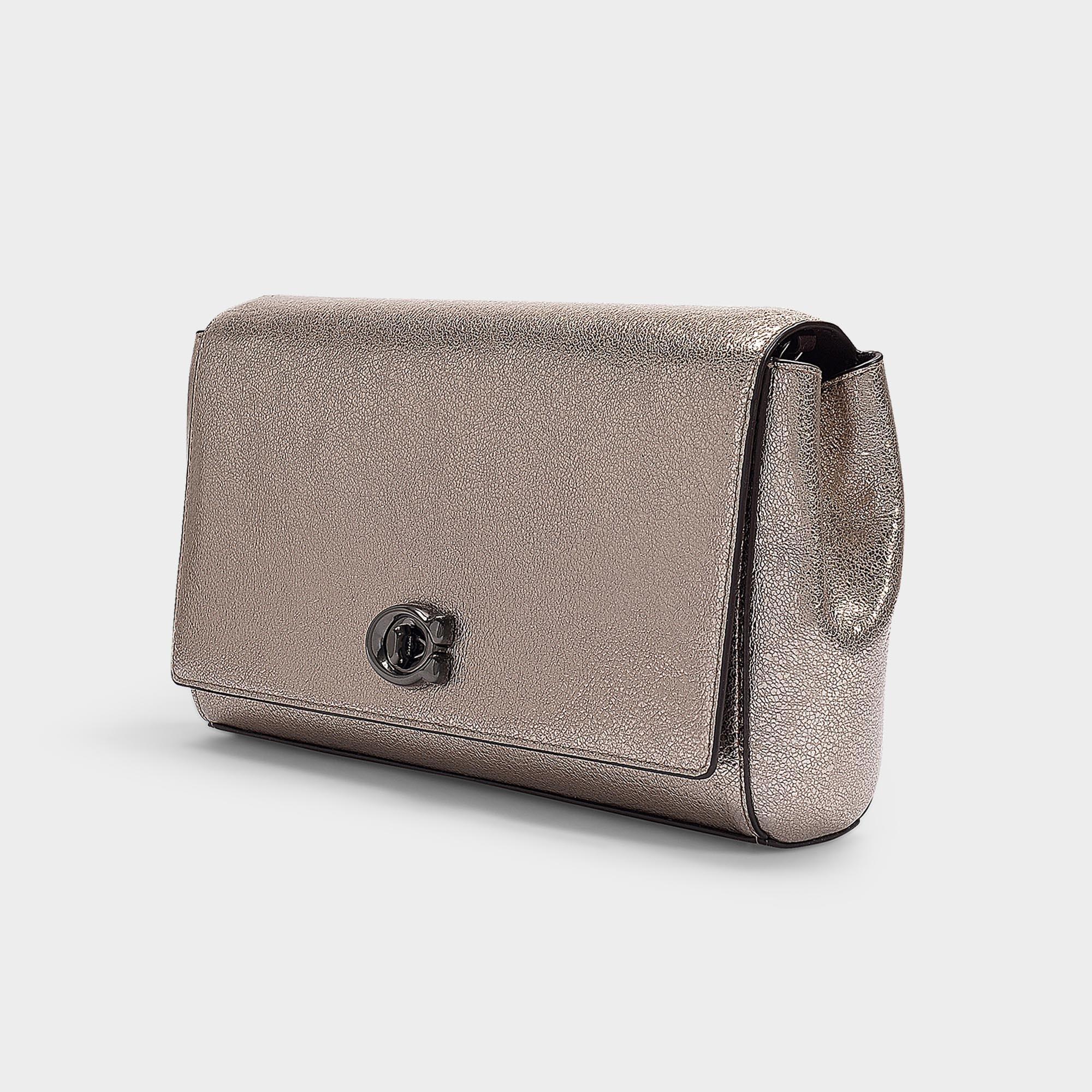 4c3d3d7854 Lyst - COACH Metallic Leather Evening Clutch In Platinum Calfskin in ...