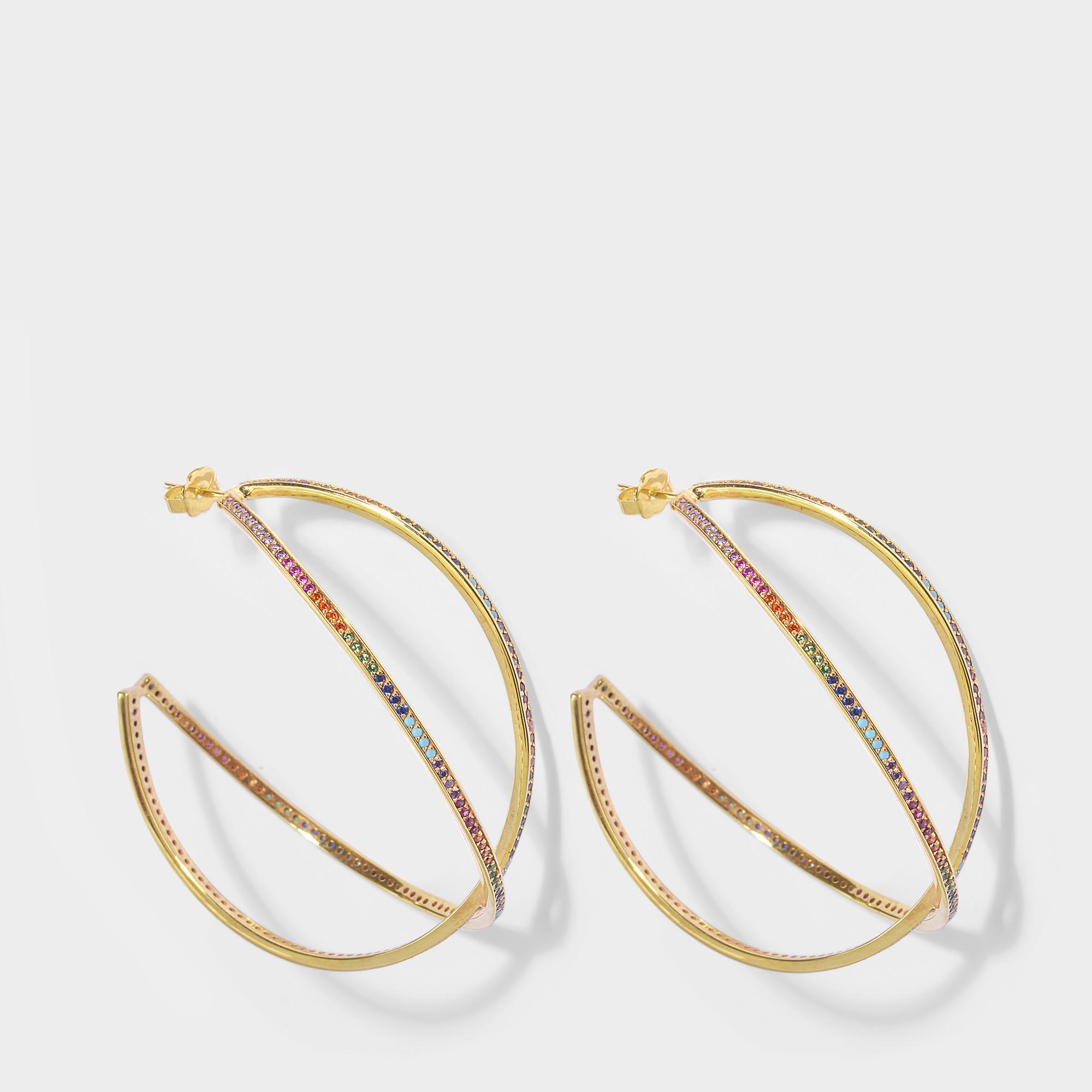 Joanna Laura Constantine Women S Metallic Set Of Two Large Criss Cross Rainbow Hoop Earrings