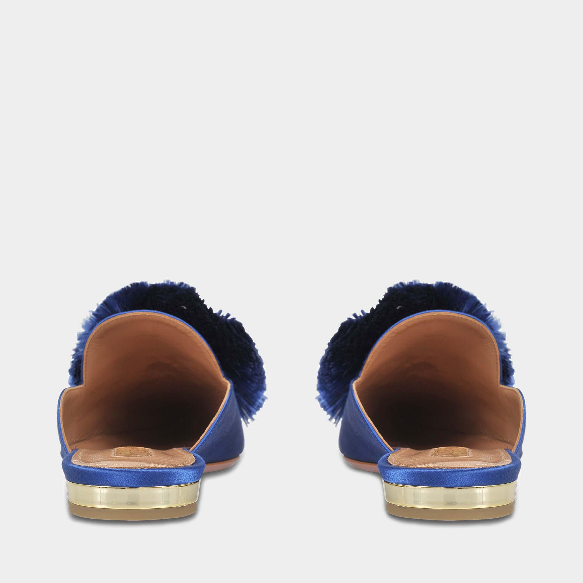 Powder Puff Flat Shoes in Ble Blue Bell Satin Aquazzura iGyrXts9V