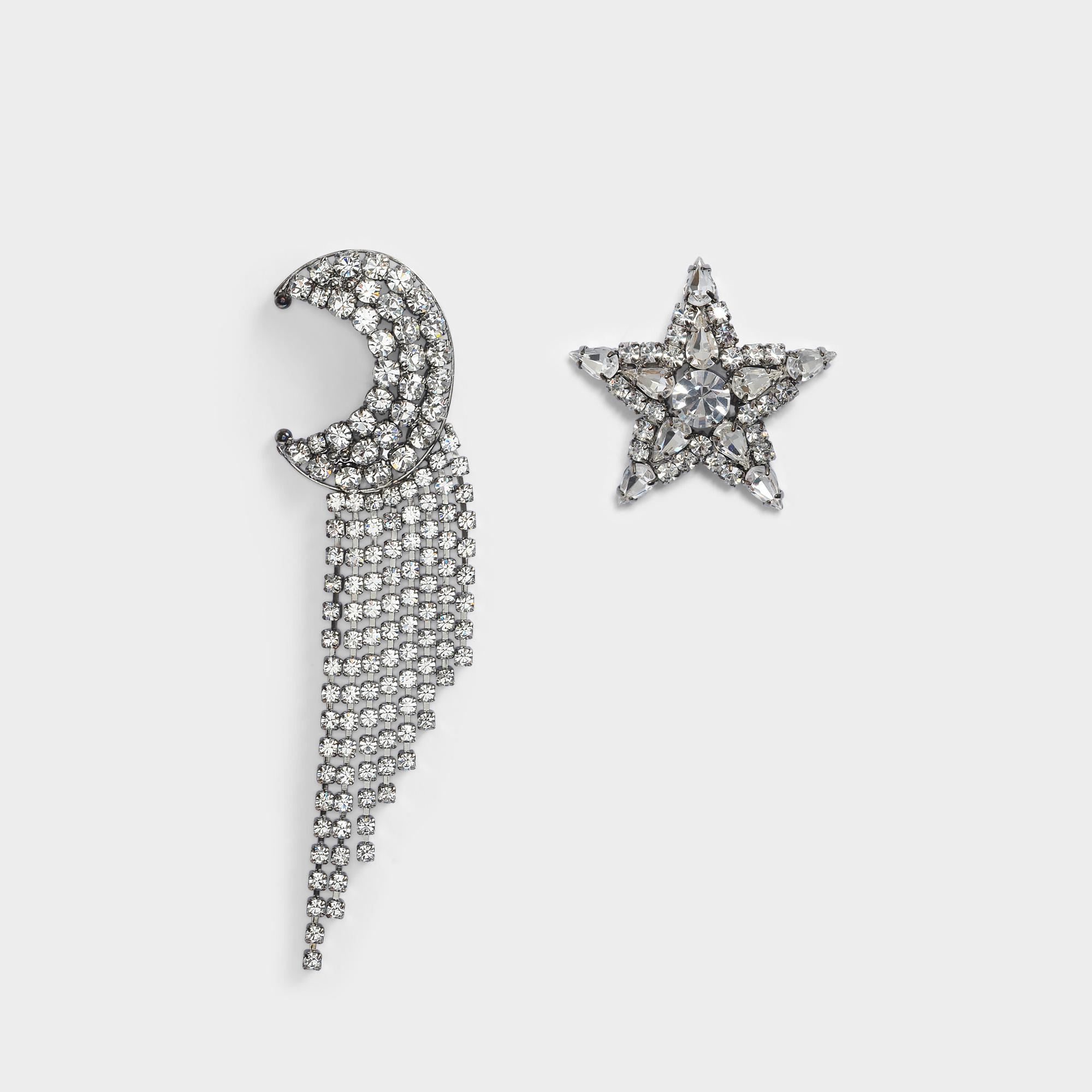 Exclusivity - Asymmetrical Star and Moon Crystals Cascade Earrings in Ruthenium and Crystals Helene Zubeldia lGz7Ro9MT