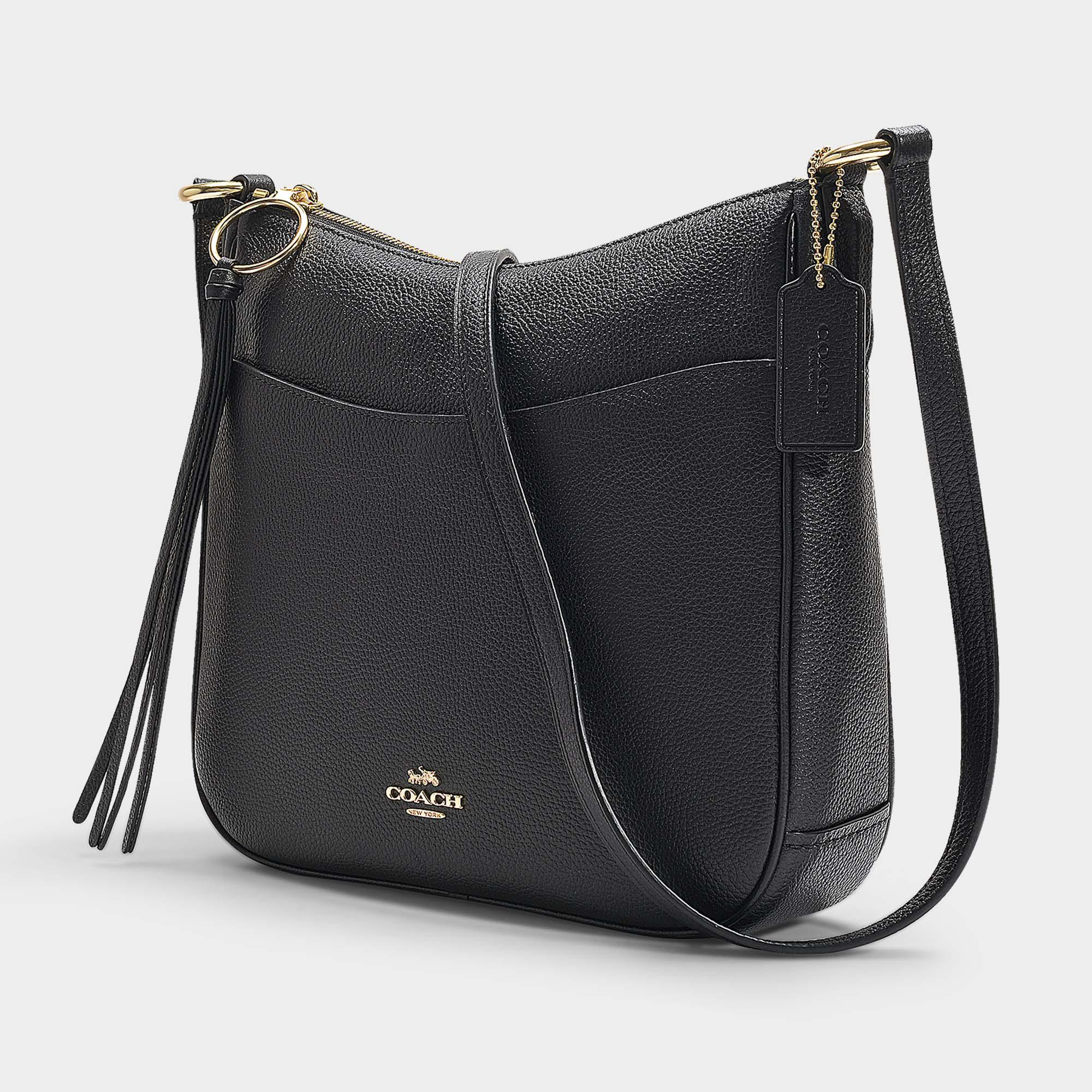 7ebae996cc9d73 ... usa coach black polished pebble leather chaise crossbody lyst. view  fullscreen a6d64 3fec1