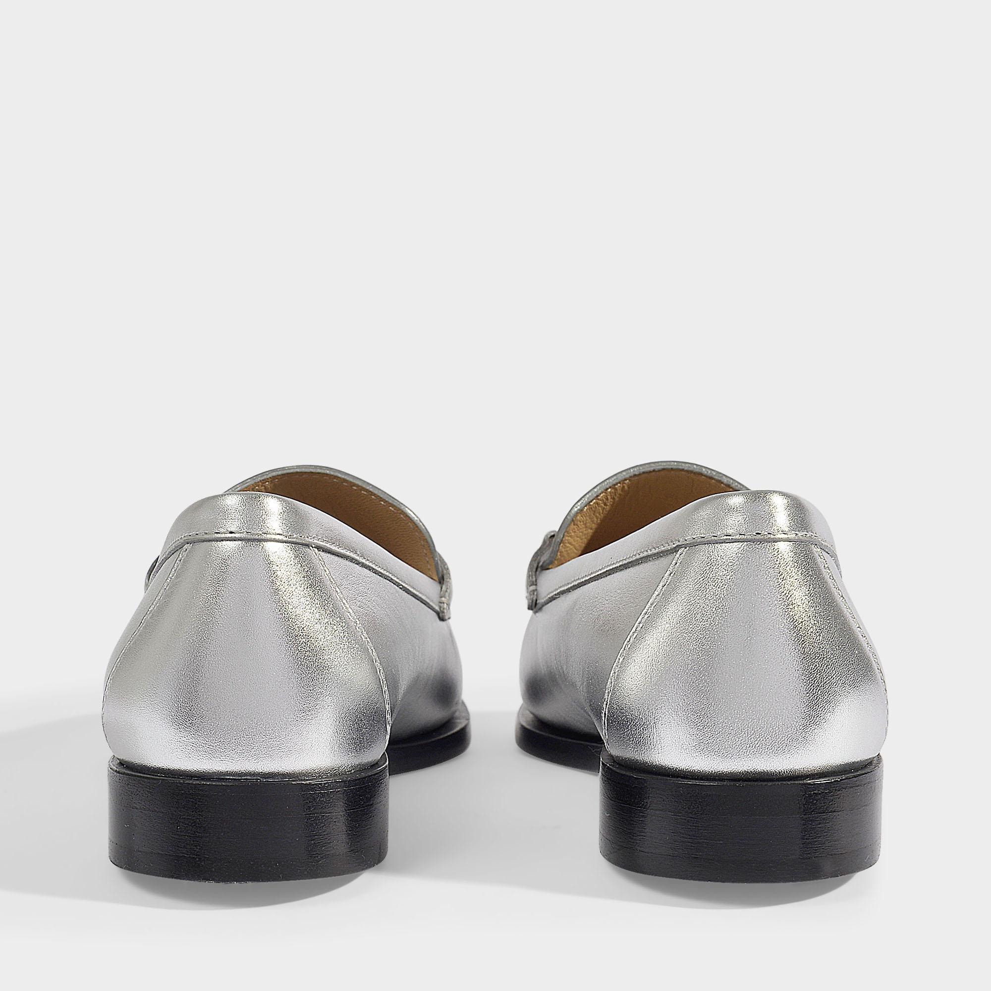 595b87303f74 Lyst - Ferragamo Rola Reversible Logo Moccasins In Silver Nappa ...