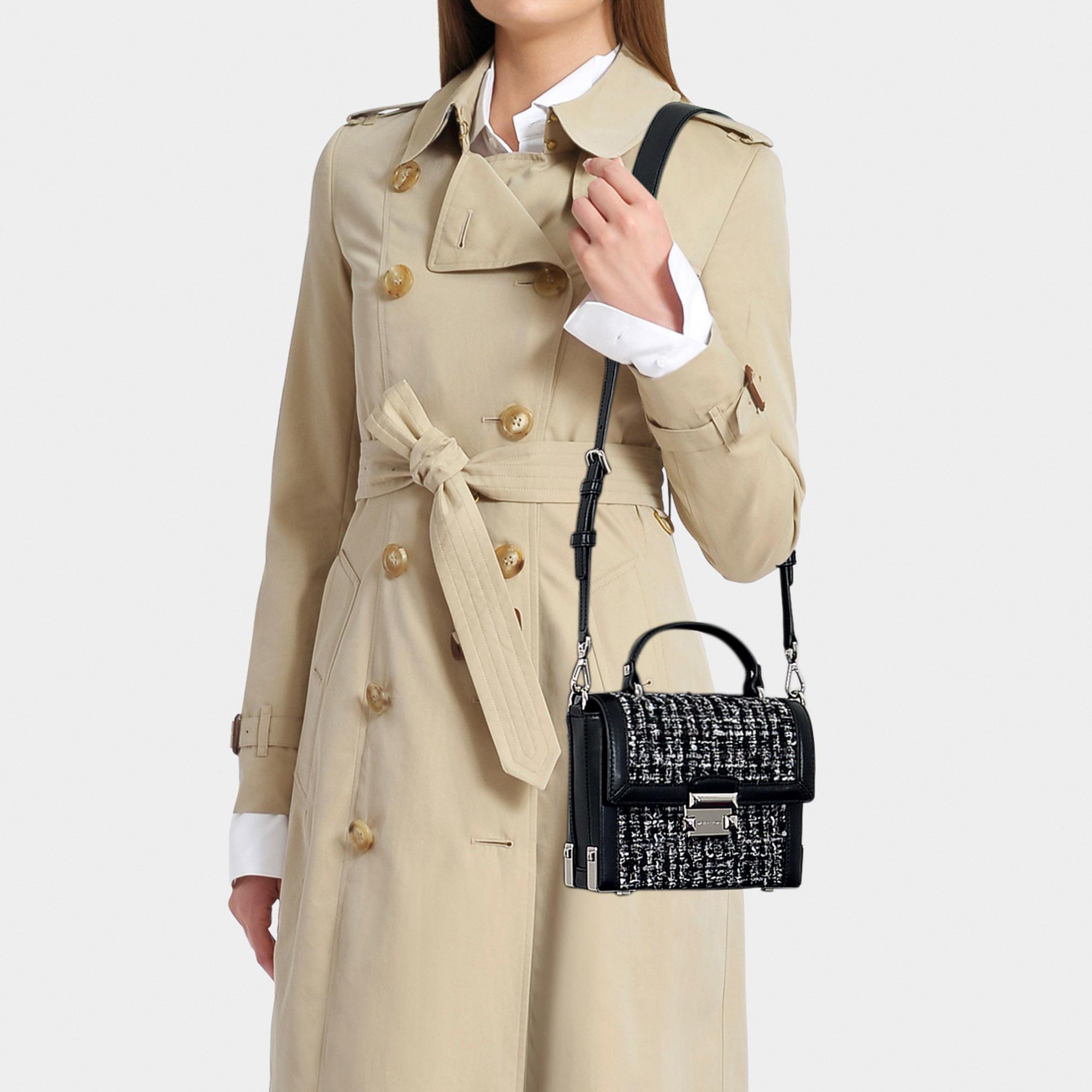 0993a164d1b74 MICHAEL Michael Kors - Jayne Small Trunk Bag In Black Tweed - Lyst. View  fullscreen