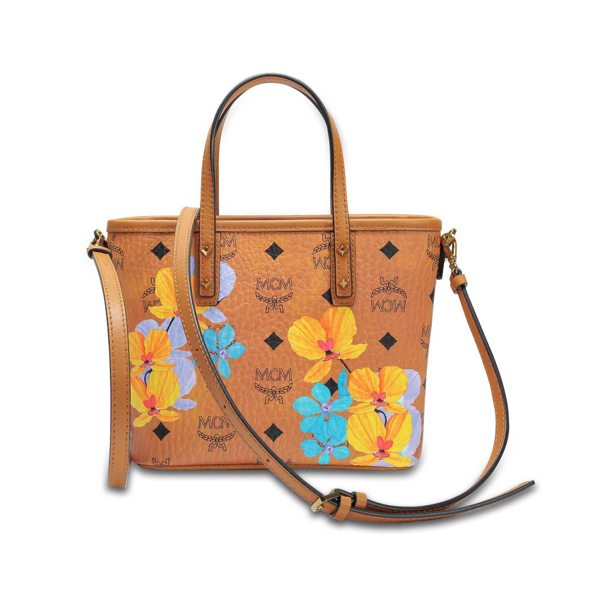 b124f856c MCM Flower Mini Crossbody Bag In Cognac Coated Cotton - Lyst