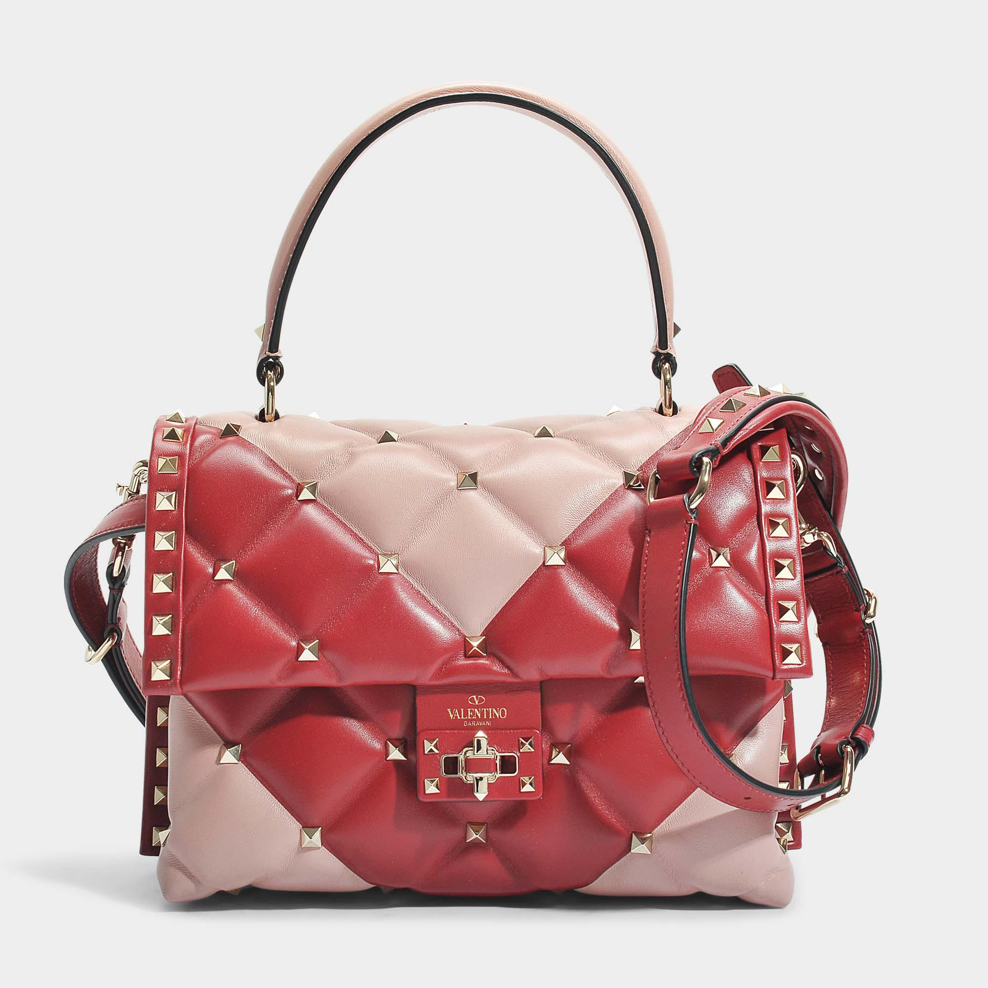 Candy Lock Single Handle Bag in Dusty Rose and Red Two-Tone Calf Valentino xjVjuWjW3K