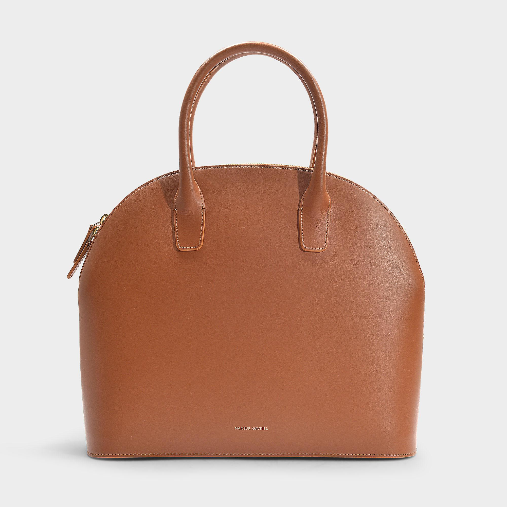 e78408aeac Mansur Gavriel Top Handle Rounded Bag In Brown Calfskin in Brown - Lyst
