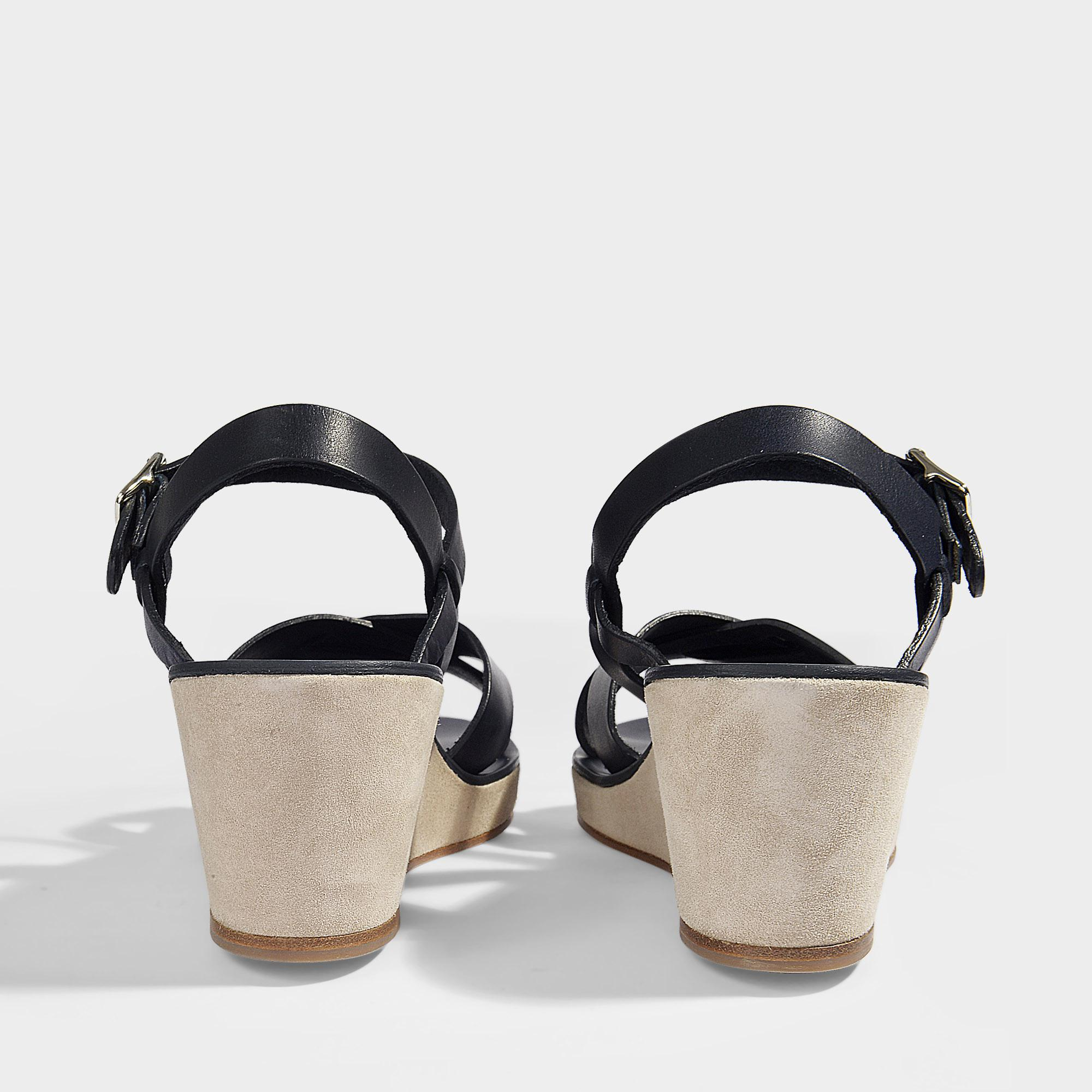 8109f7381a64 A.P.C. - Blue Judith Sandals In Dark Navy Smooth Leather - Lyst. View  fullscreen