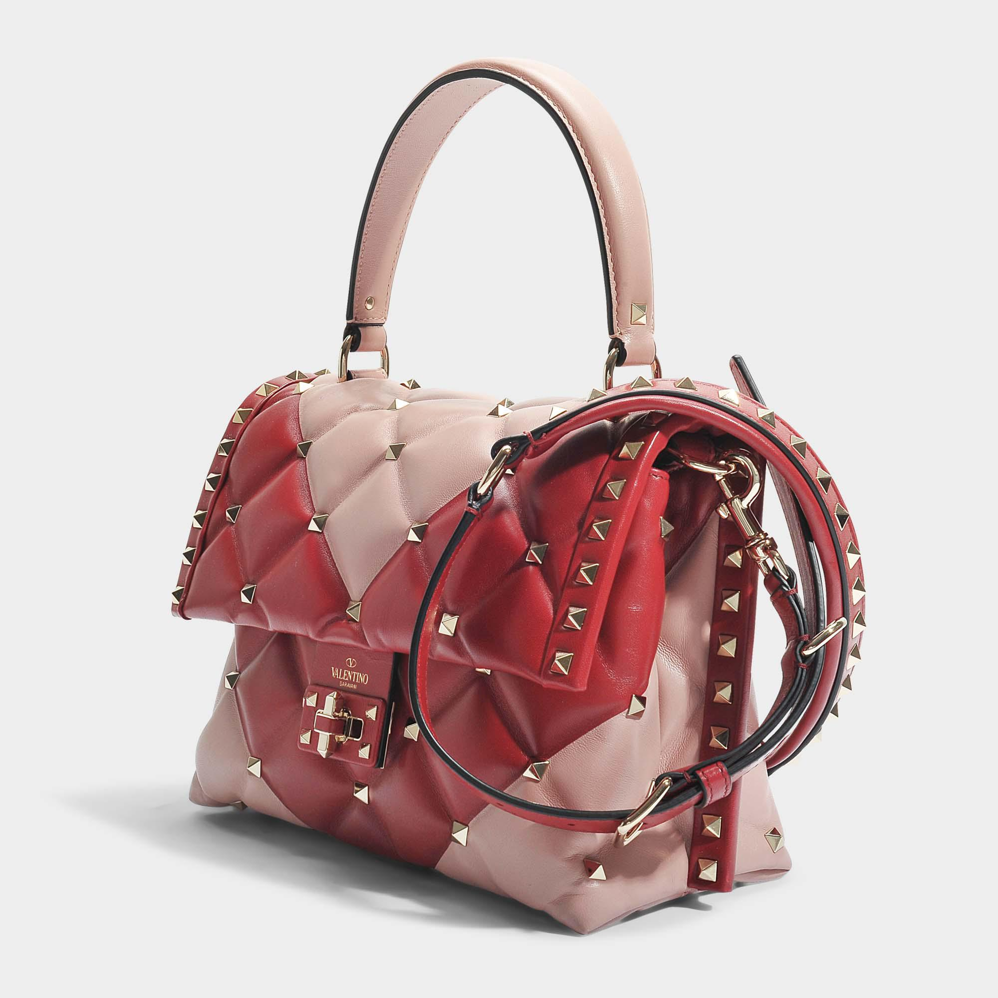 Candy Lock Single Handle Bag in Dusty Rose and Red Two-Tone Calf Valentino ZpLxu2ix