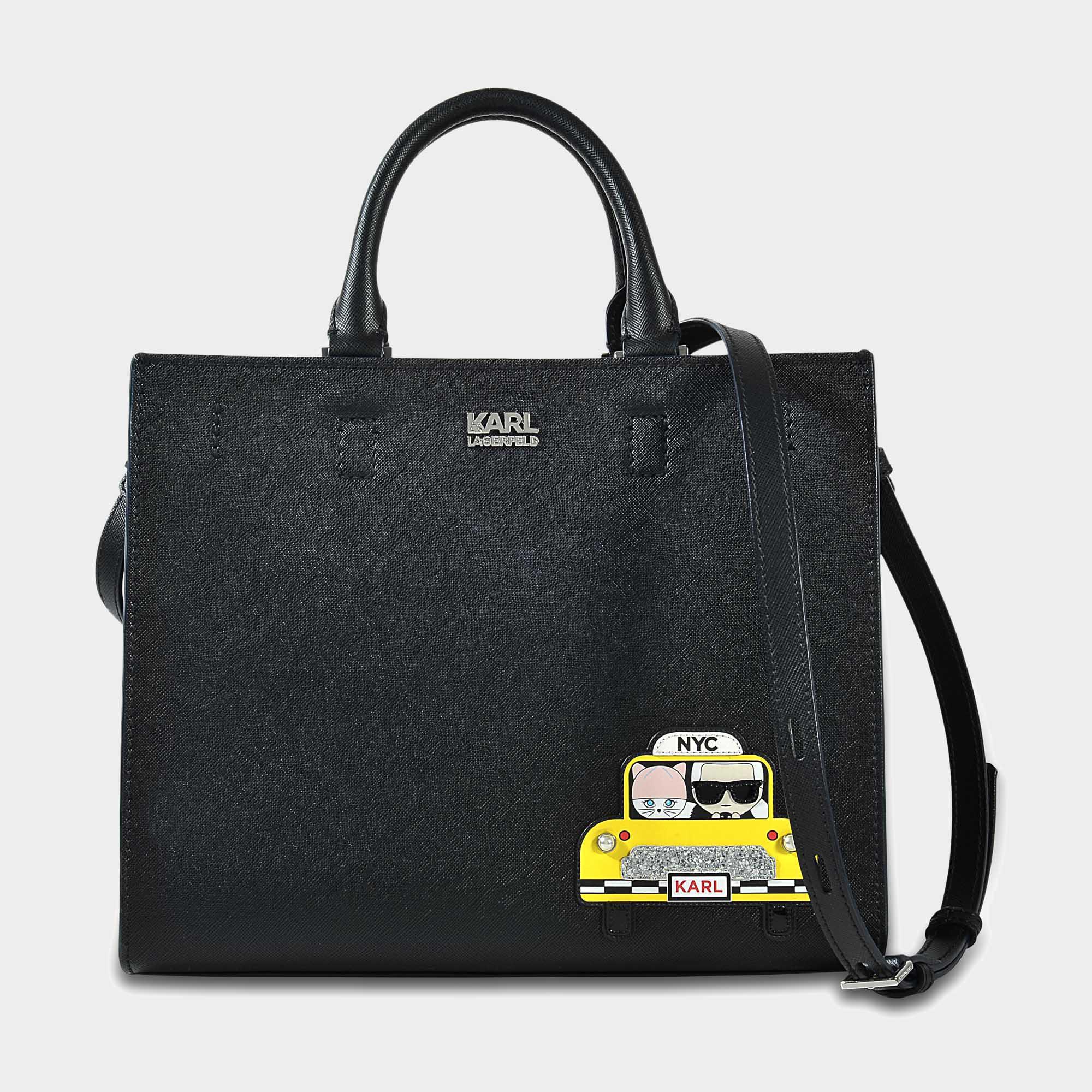 Noir Nyc Sac Cuir Saffiano Mini Cabas En Karl Lagerfeld kNw0O8nPXZ