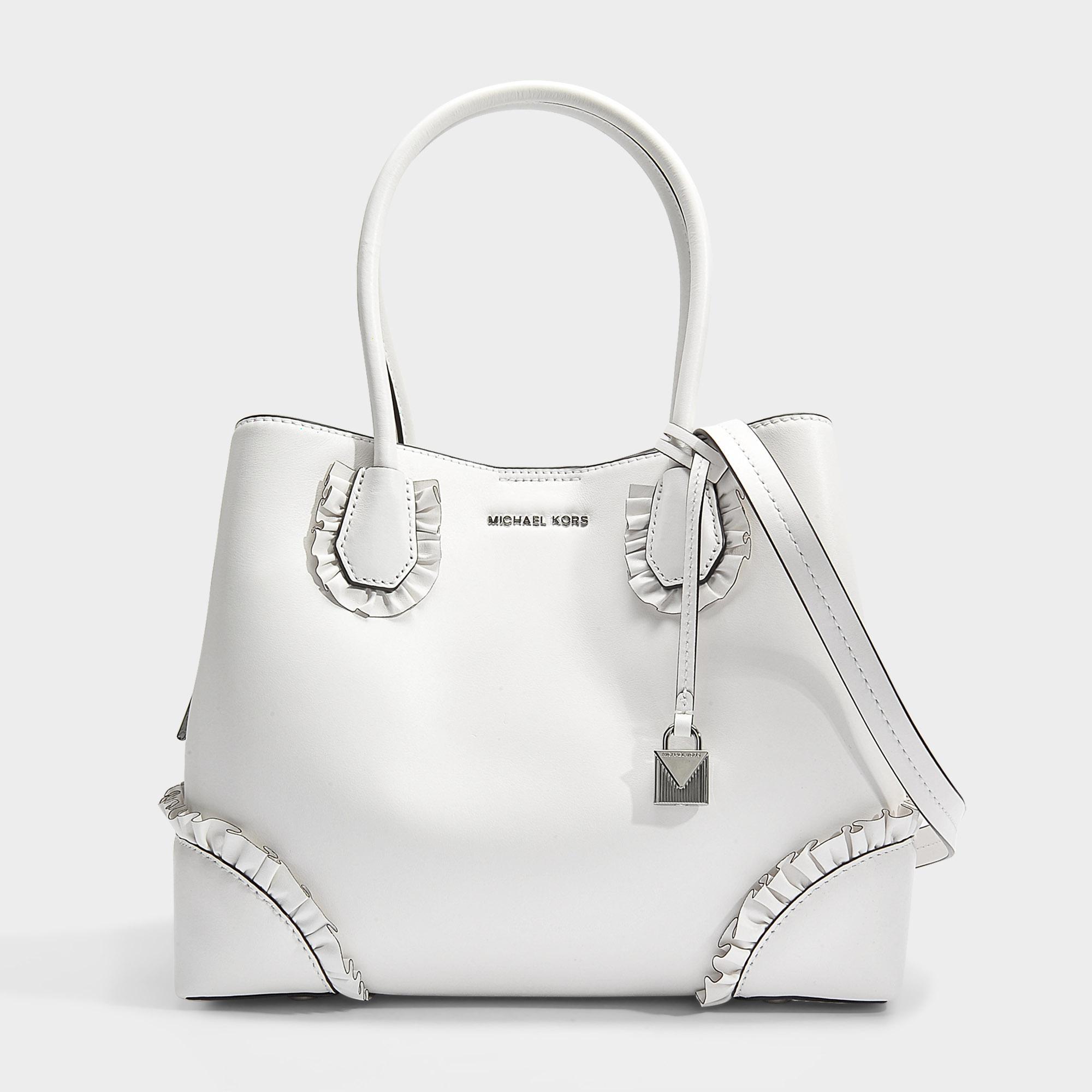 Mercer Gallery Center Zip Medium Tote Bag With Ruffles in Optic White Polished Leather Michael Michael Kors 1MvHoJ