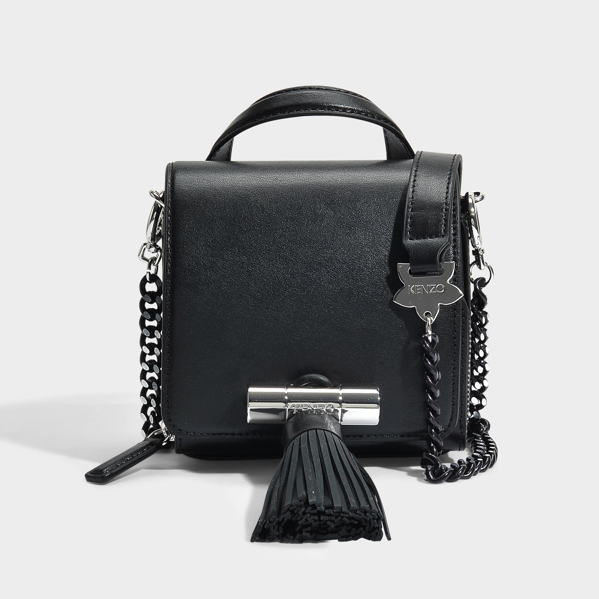 Kenzo Chaîne Marin Mini-sac À Poignée En Cuir Noir F1HcwD