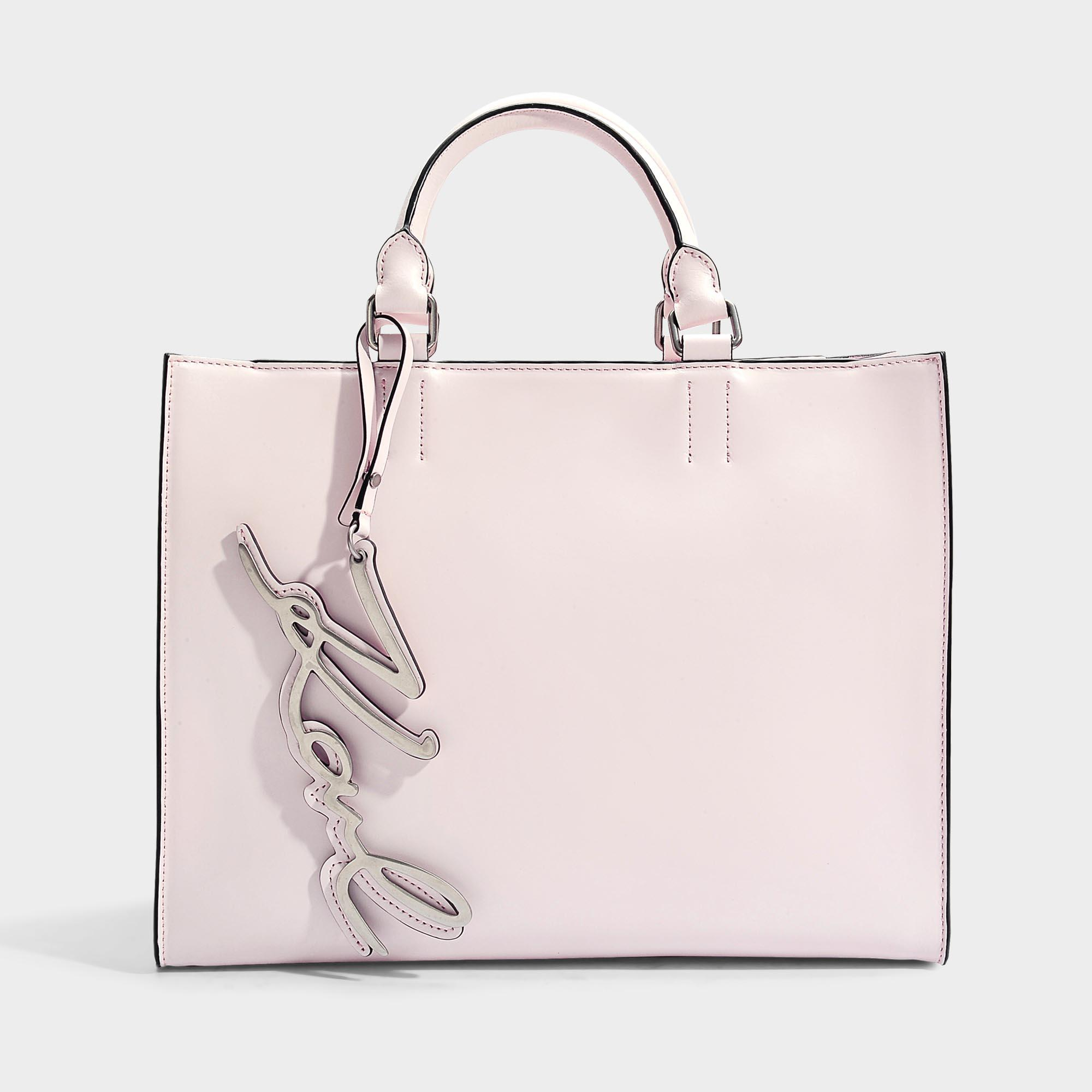 MM6 Maison Margiela Sac Shopper en Cuir Synthétique Embossé Serpent Lamé Rose