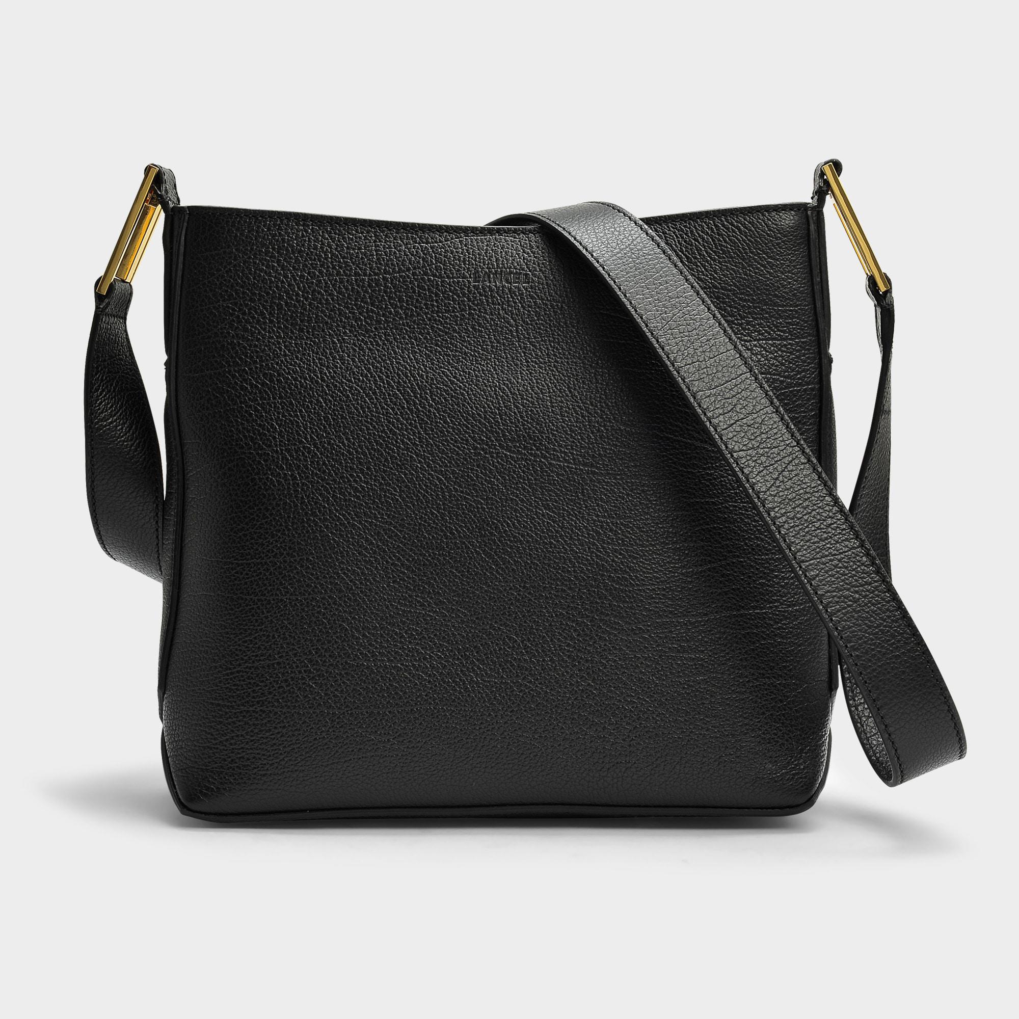 c8036fe961 Lyst - Lancel Max S Zip Crossbody Bag In Black Grained Leather in Black