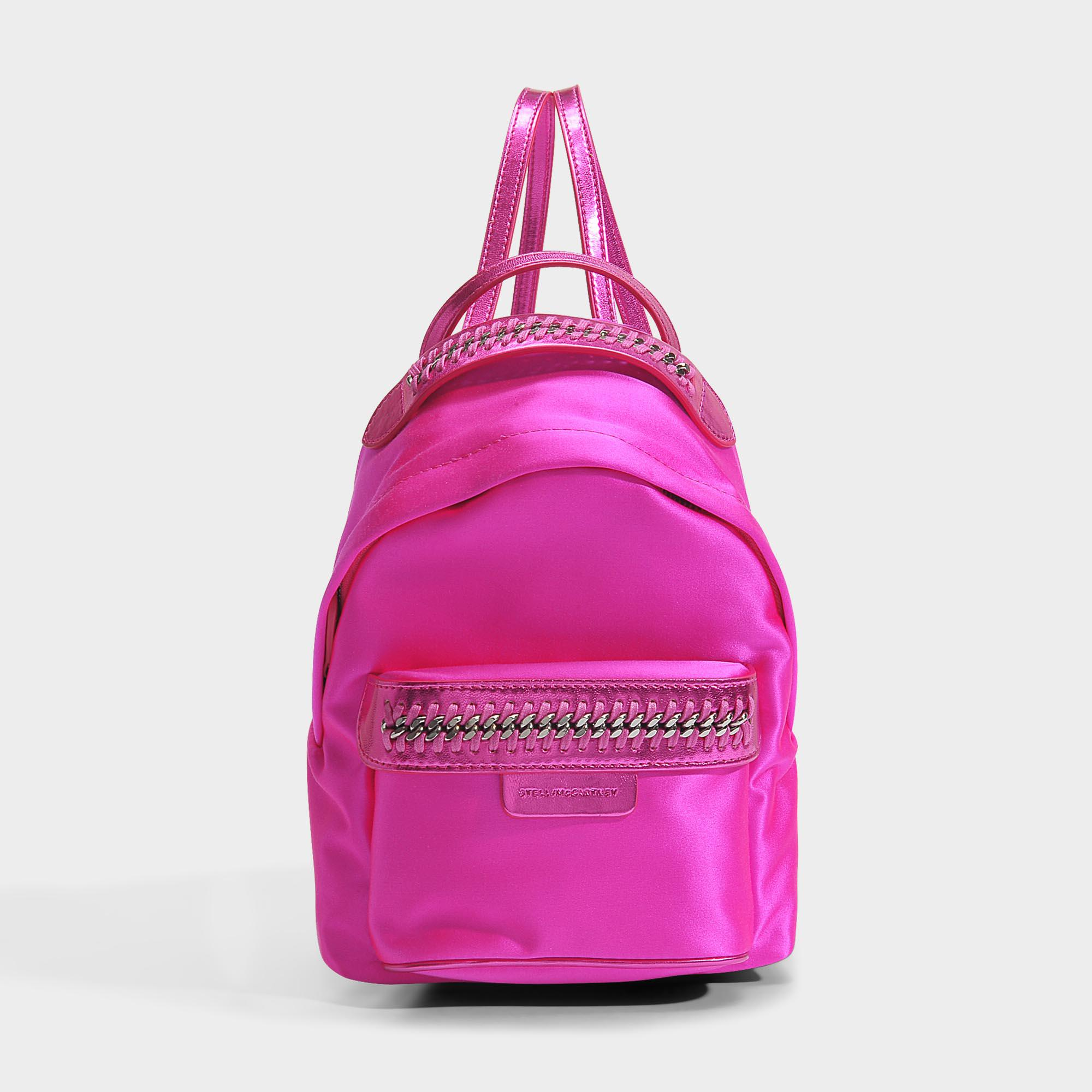 Satin Falabella Go Mini Backpack in Bright Fuchsia Eco Fabric Stella McCartney